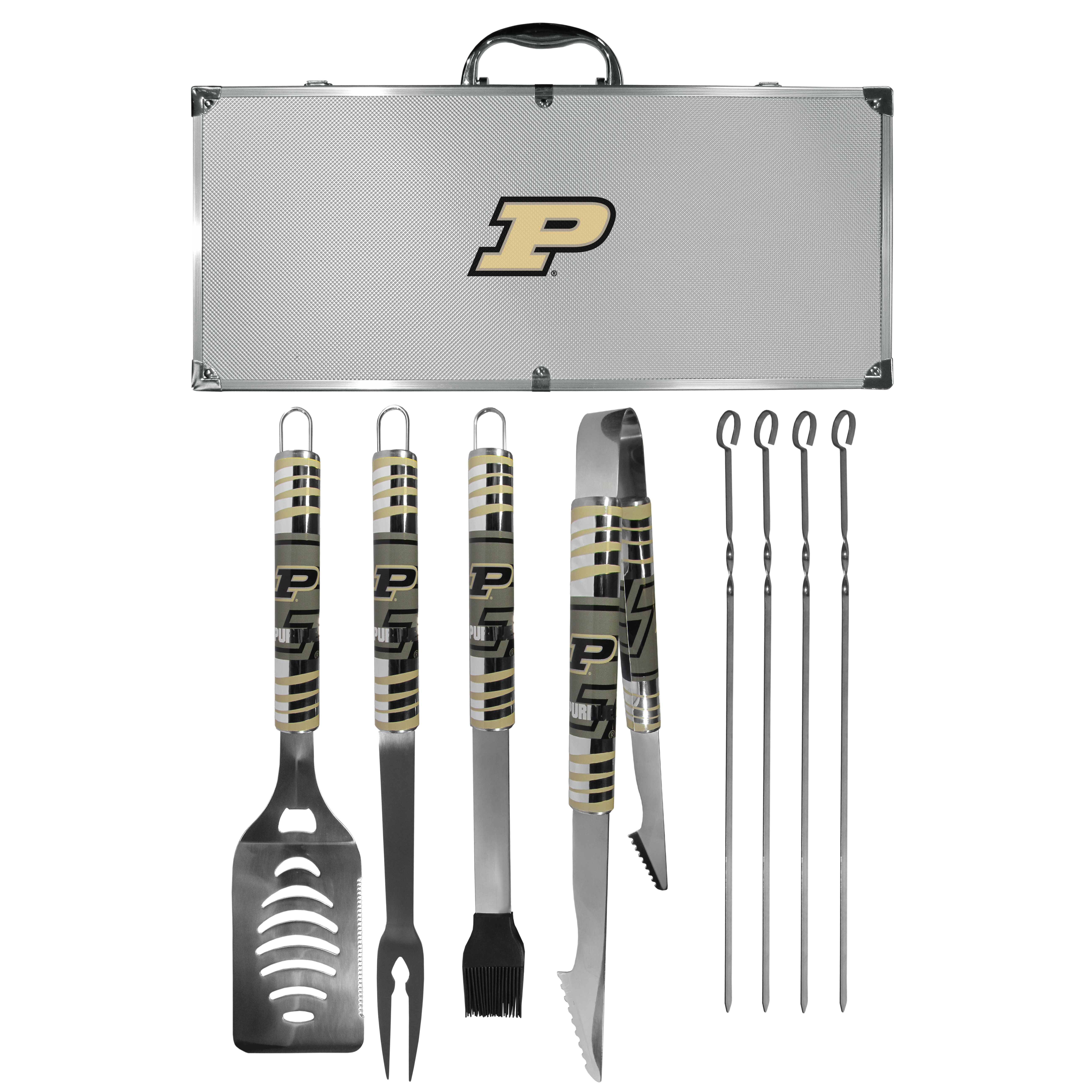 Purdue Boilermakers 8 pc Tailgater BBQ Set - This is the ultimate Purdue Boilermakers tailgate accessory! The high quality, 420 grade stainless steel tools are durable and well-made enough to make even the pickiest grill master smile. This complete grill accessory kit includes; 4 skewers, spatula with bottle opener and serrated knife edge, basting brush, tongs and a fork. The 18 inch metal carrying case is perfect for great outdoor use making grilling an ease while camping, tailgating or while having a game day party on your patio. The tools are 17 inches long and feature vivid team graphics. The metal case features a large team emblem with exceptional detail. This high-end men's gift is sure to be a hit as a present on Father's Day or Christmas.