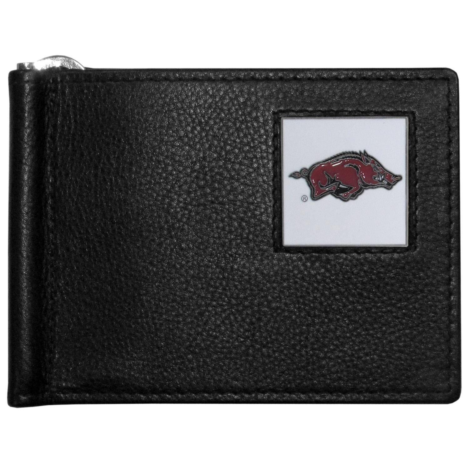 Arkansas Razorbacks Leather Bill Clip Wallet - This cool new style wallet features an inner, metal bill clip that lips up for easy access. The super slim wallet holds tons of stuff with ample pockets, credit card slots & windowed ID slot. The wallet is made of genuine fine grain leather and it finished with a metal Arkansas Razorbacks emblem. The wallet is shipped in gift box packaging.