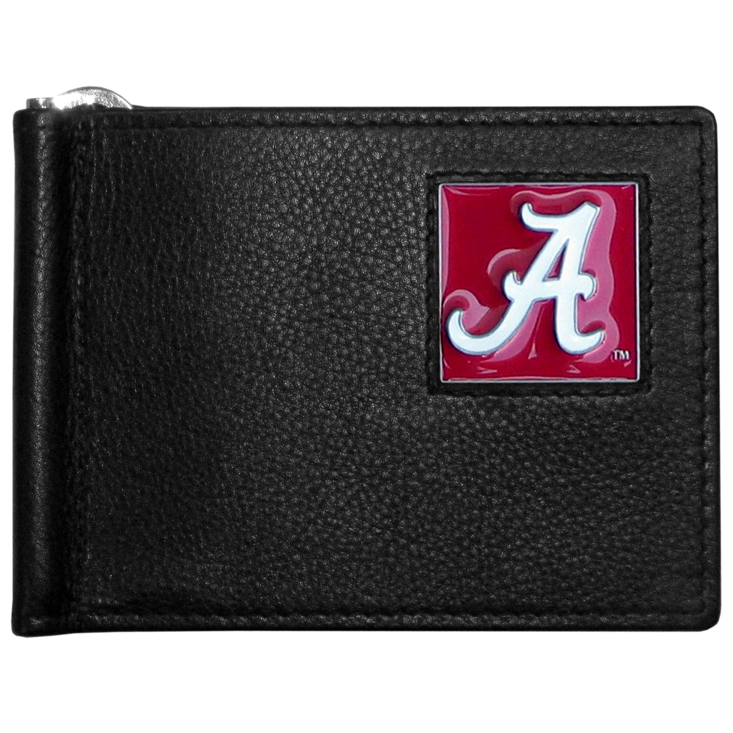 Alabama Crimson Tide Leather Bill Clip Wallet - This cool new style wallet features an inner, metal bill clip that lips up for easy access. The super slim wallet holds tons of stuff with ample pockets, credit card slots & windowed ID slot. The wallet is made of genuine fine grain leather and it finished with a metal Alabama Crimson Tide emblem. The wallet is shipped in gift box packaging.