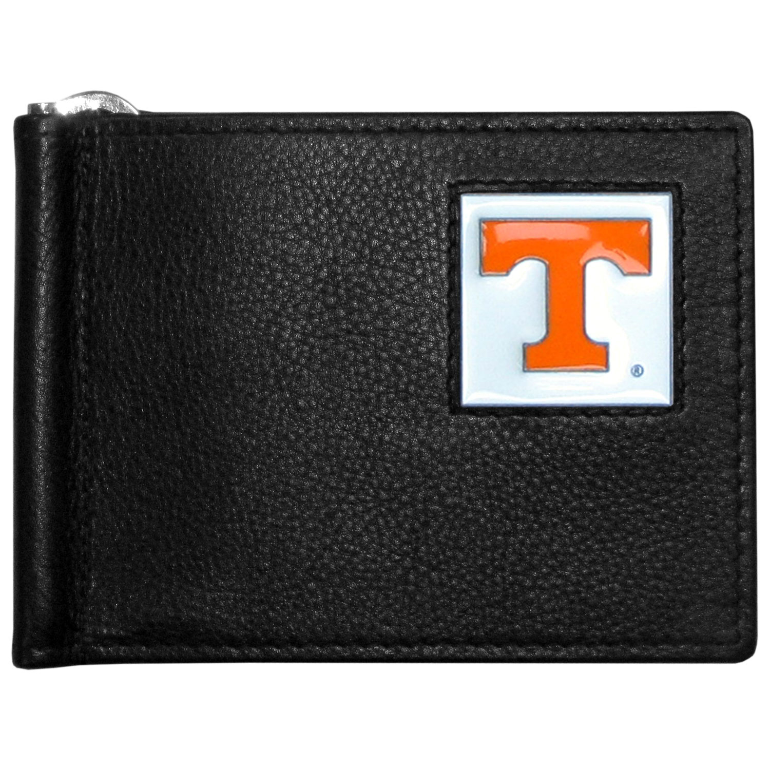 Tennessee Volunteers Leather Bill Clip Wallet - This cool new style wallet features an inner, metal bill clip that lips up for easy access. The super slim wallet holds tons of stuff with ample pockets, credit card slots & windowed ID slot. The wallet is made of genuine fine grain leather and it finished with a metal Tennessee Volunteers emblem. The wallet is shipped in gift box packaging.