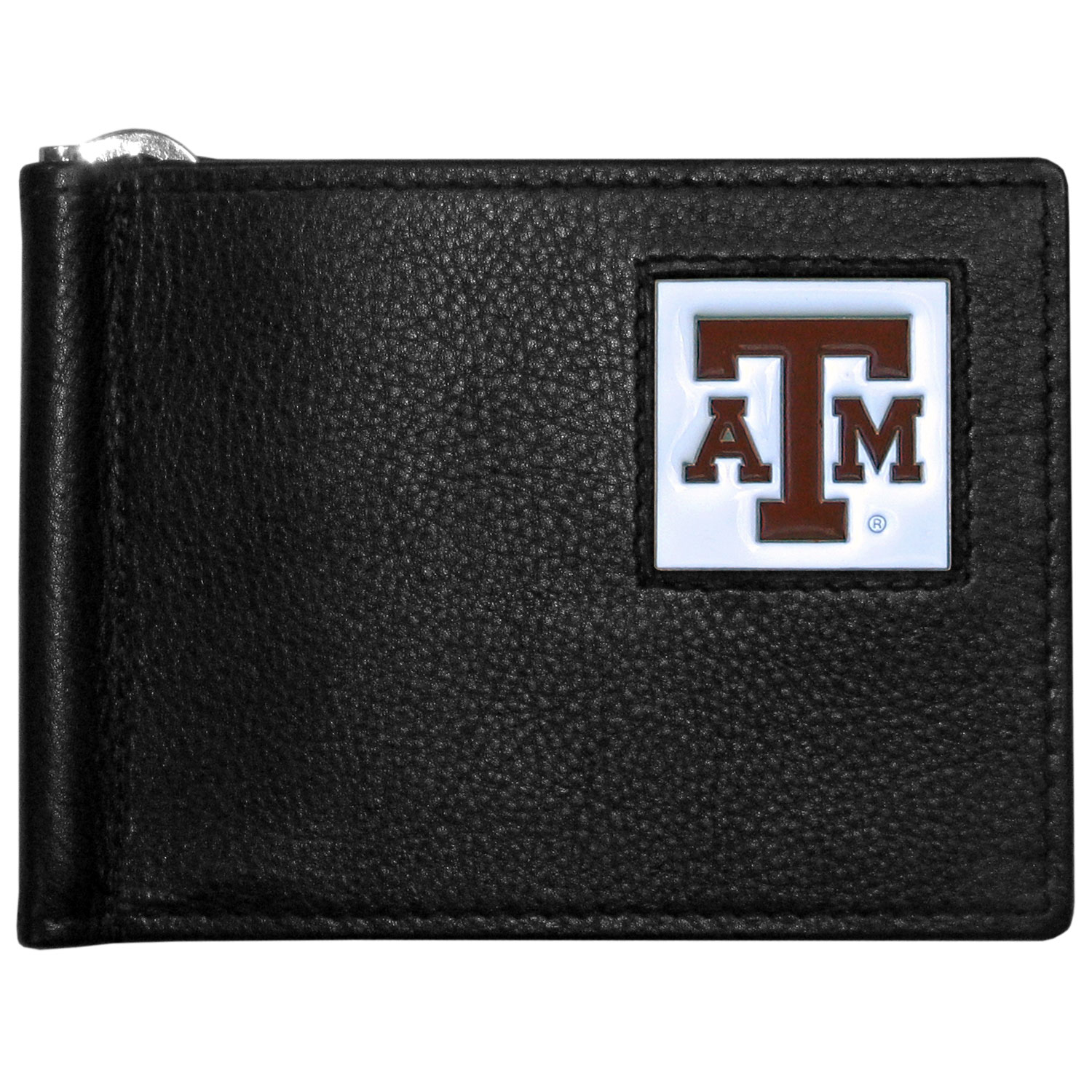 Texas A and M Aggies Leather Bill Clip Wallet - This cool new style wallet features an inner, metal bill clip that lips up for easy access. The super slim wallet holds tons of stuff with ample pockets, credit card slots & windowed ID slot. The wallet is made of genuine fine grain leather and it finished with a metal Texas A & M Aggies emblem. The wallet is shipped in gift box packaging.