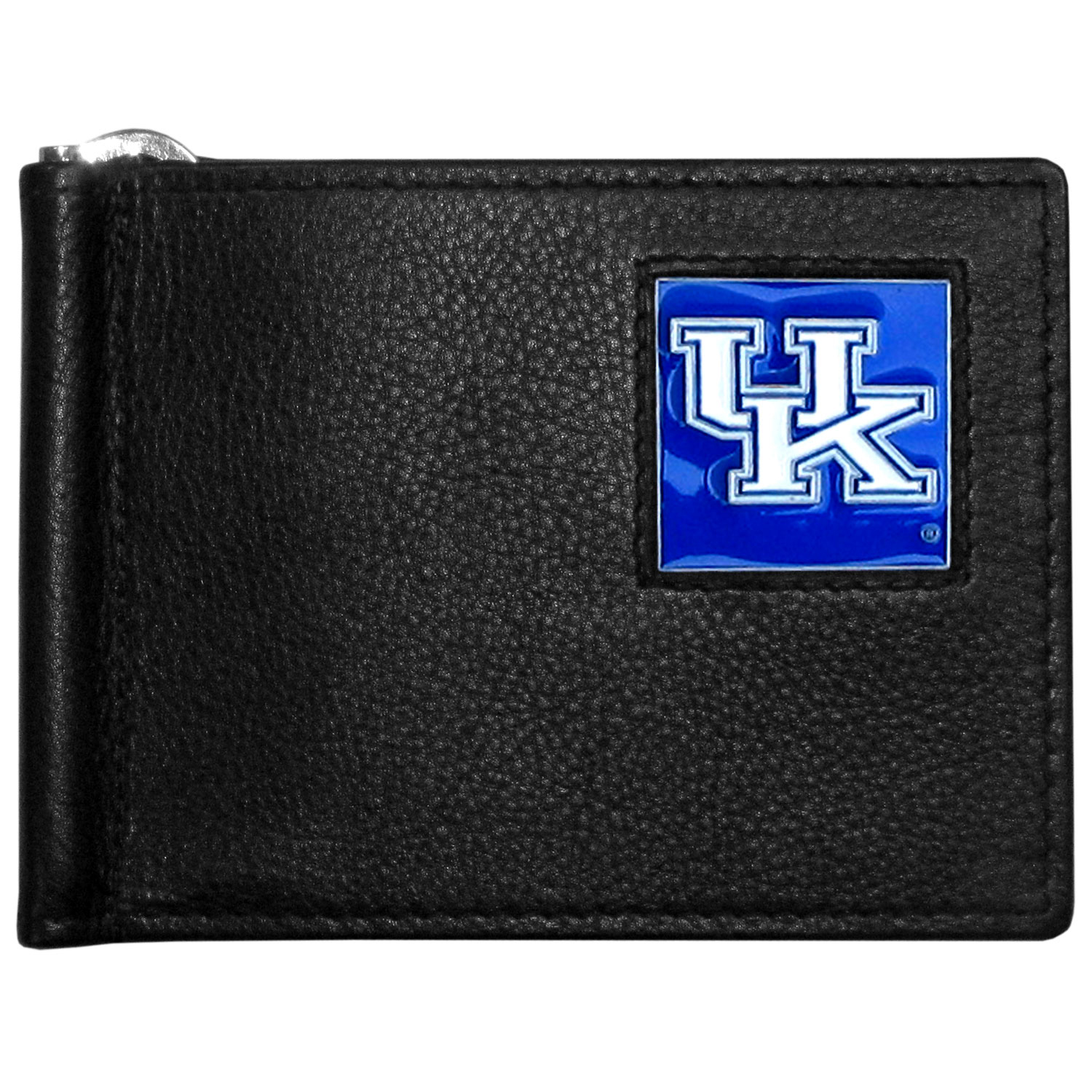 Kentucky Wildcats Leather Bill Clip Wallet - This cool new style wallet features an inner, metal bill clip that lips up for easy access. The super slim wallet holds tons of stuff with ample pockets, credit card slots & windowed ID slot. The wallet is made of genuine fine grain leather and it finished with a metal Kentucky Wildcats emblem. The wallet is shipped in gift box packaging.