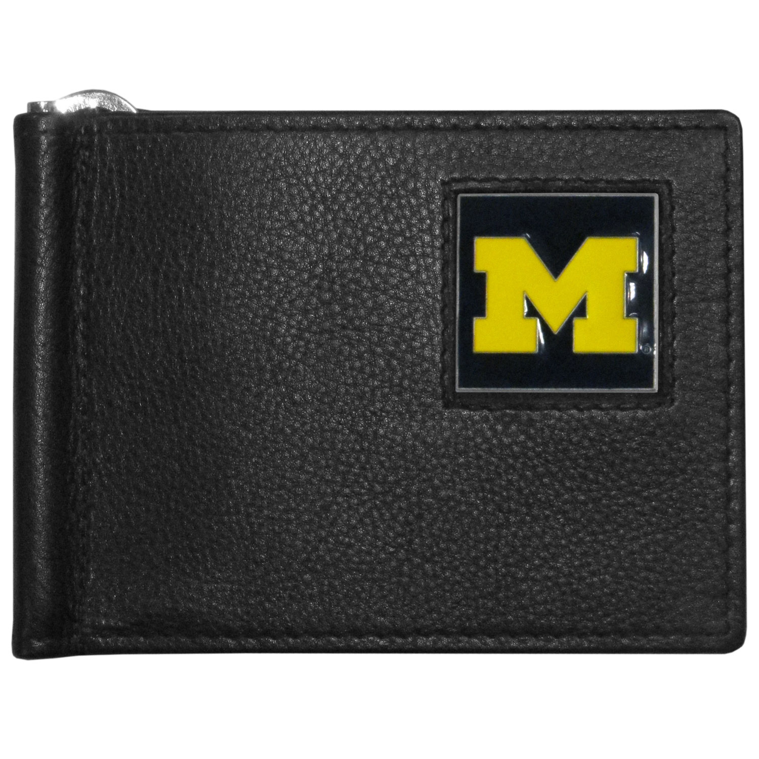 Michigan Wolverines Leather Bill Clip Wallet - This cool new style wallet features an inner, metal bill clip that lips up for easy access. The super slim wallet holds tons of stuff with ample pockets, credit card slots & windowed ID slot. The wallet is made of genuine fine grain leather and it finished with a metal Michigan Wolverines emblem. The wallet is shipped in gift box packaging.