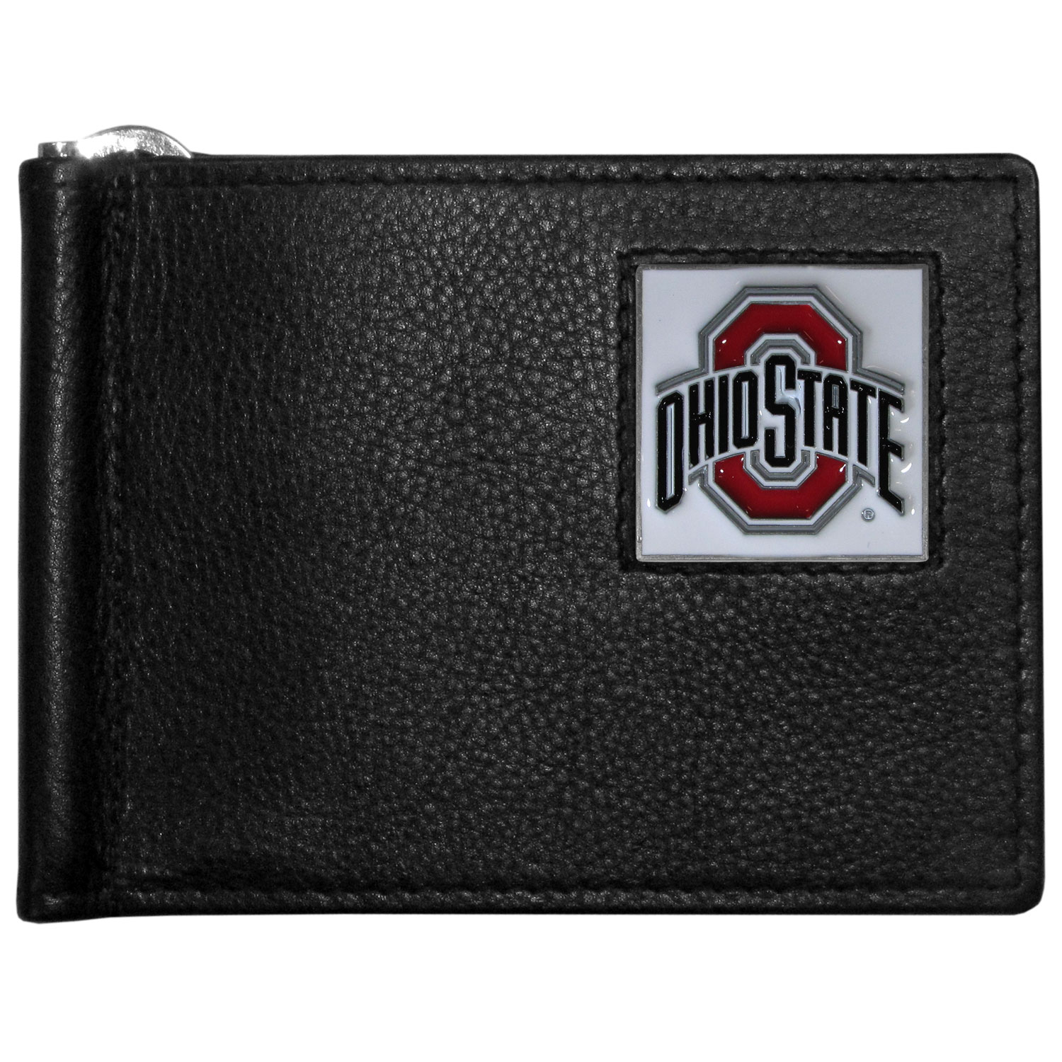 Ohio St. Buckeyes Leather Bill Clip Wallet - This cool new style wallet features an inner, metal bill clip that lips up for easy access. The super slim wallet holds tons of stuff with ample pockets, credit card slots & windowed ID slot. The wallet is made of genuine fine grain leather and it finished with a metal Ohio St. Buckeyes emblem. The wallet is shipped in gift box packaging.