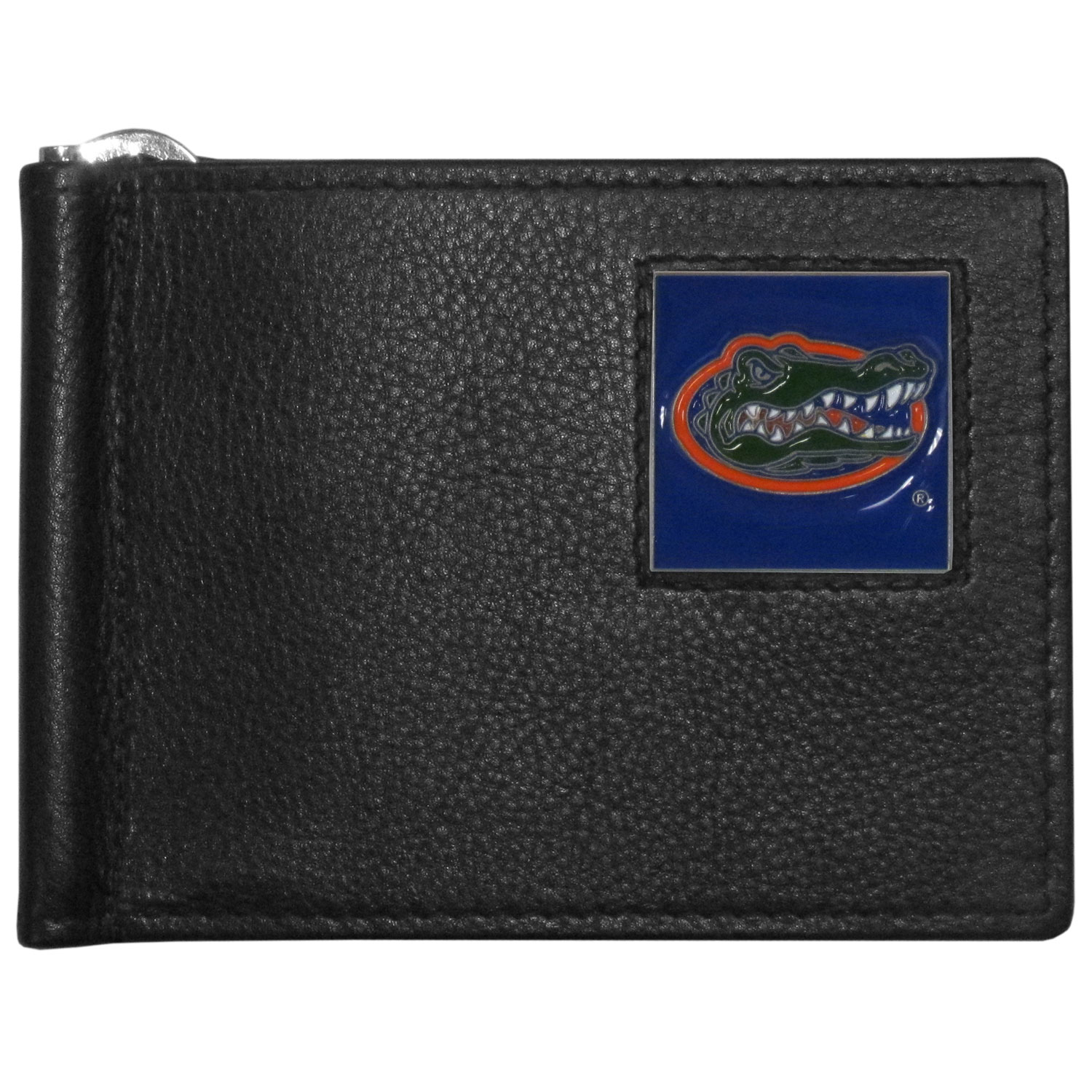 Florida Gators Leather Bill Clip Wallet - This cool new style wallet features an inner, metal bill clip that lips up for easy access. The super slim wallet holds tons of stuff with ample pockets, credit card slots & windowed ID slot. The wallet is made of genuine fine grain leather and it finished with a metal Florida Gators emblem. The wallet is shipped in gift box packaging.