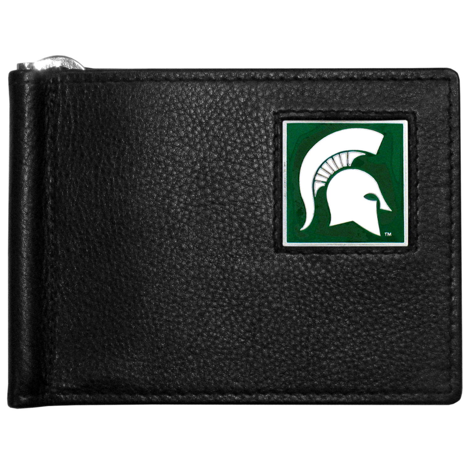 Michigan St. Spartans Leather Bill Clip Wallet - This cool new style wallet features an inner, metal bill clip that lips up for easy access. The super slim wallet holds tons of stuff with ample pockets, credit card slots & windowed ID slot. The wallet is made of genuine fine grain leather and it finished with a metal Michigan St. Spartans emblem. The wallet is shipped in gift box packaging.