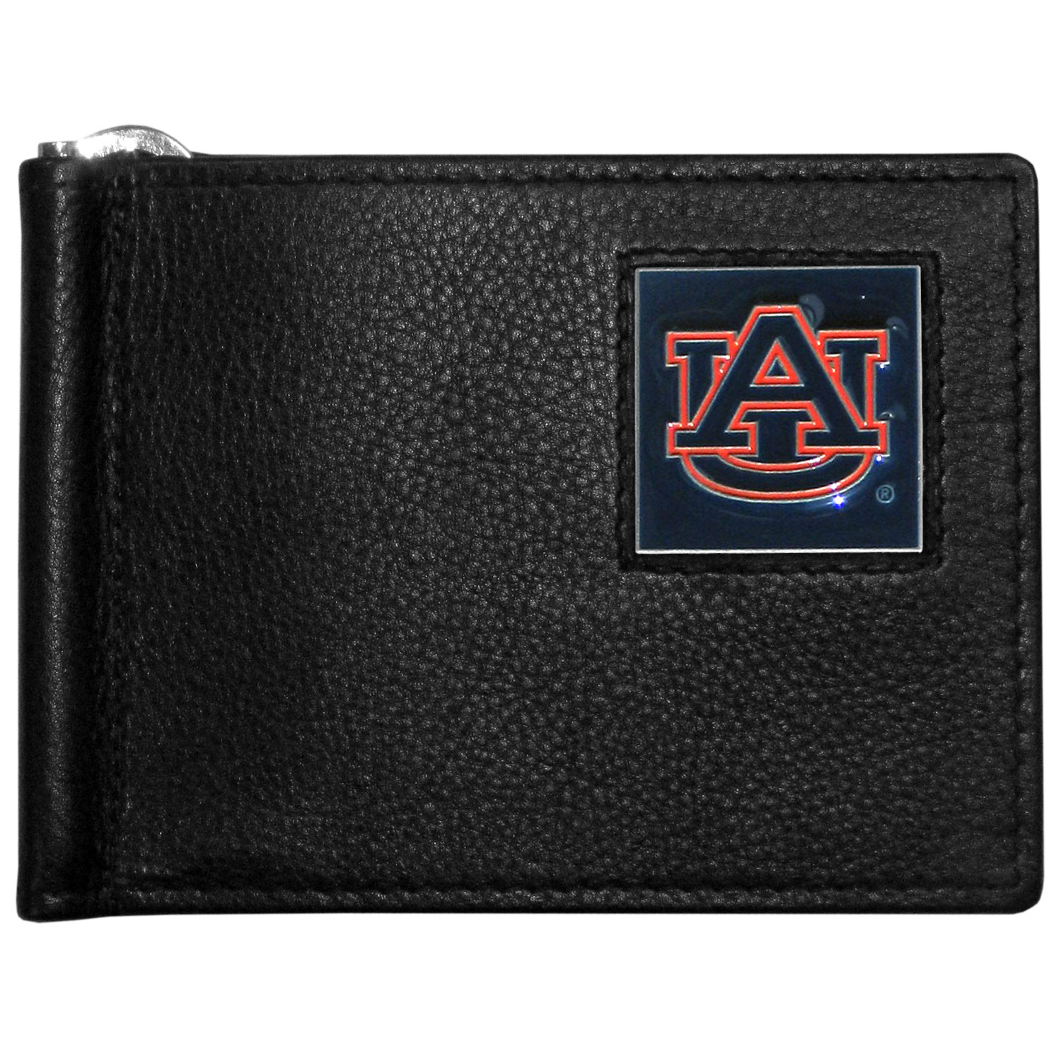 Auburn Tigers Leather Bill Clip Wallet - This cool new style wallet features an inner, metal bill clip that lips up for easy access. The super slim wallet holds tons of stuff with ample pockets, credit card slots & windowed ID slot. The wallet is made of genuine fine grain leather and it finished with a metal Auburn Tigers emblem. The wallet is shipped in gift box packaging.