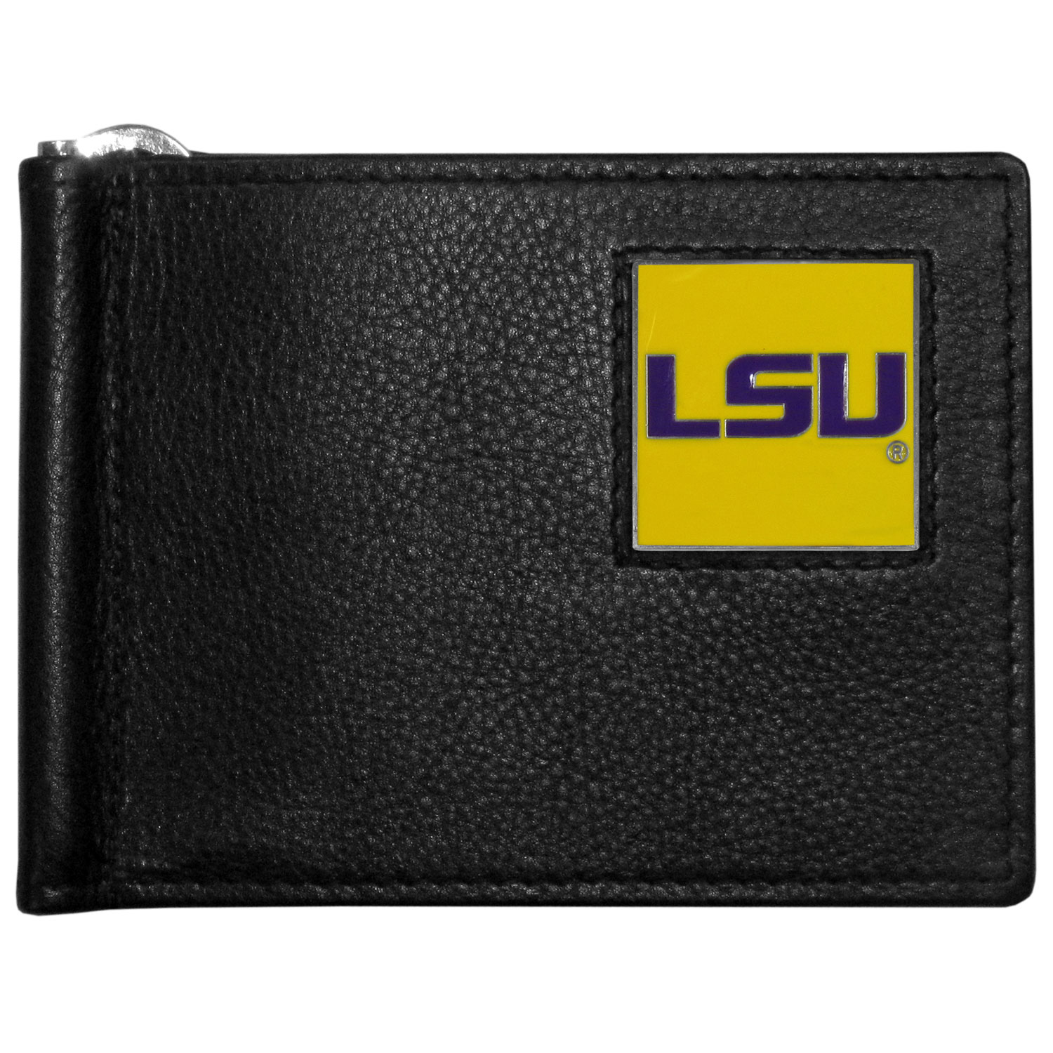 LSU Tigers Leather Bill Clip Wallet - This cool new style wallet features an inner, metal bill clip that lips up for easy access. The super slim wallet holds tons of stuff with ample pockets, credit card slots & windowed ID slot. The wallet is made of genuine fine grain leather and it finished with a metal LSU Tigers emblem. The wallet is shipped in gift box packaging.