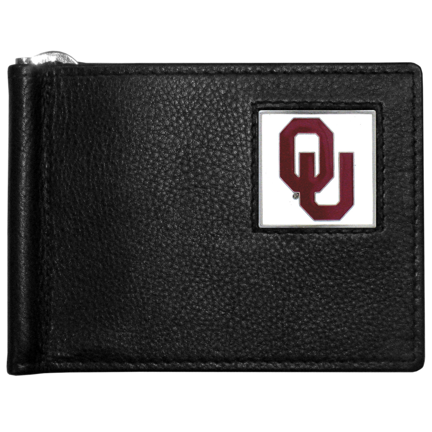 Oklahoma Sooners Leather Bill Clip Wallet - This cool new style wallet features an inner, metal bill clip that lips up for easy access. The super slim wallet holds tons of stuff with ample pockets, credit card slots & windowed ID slot. The wallet is made of genuine fine grain leather and it finished with a metal Oklahoma Sooners emblem. The wallet is shipped in gift box packaging.