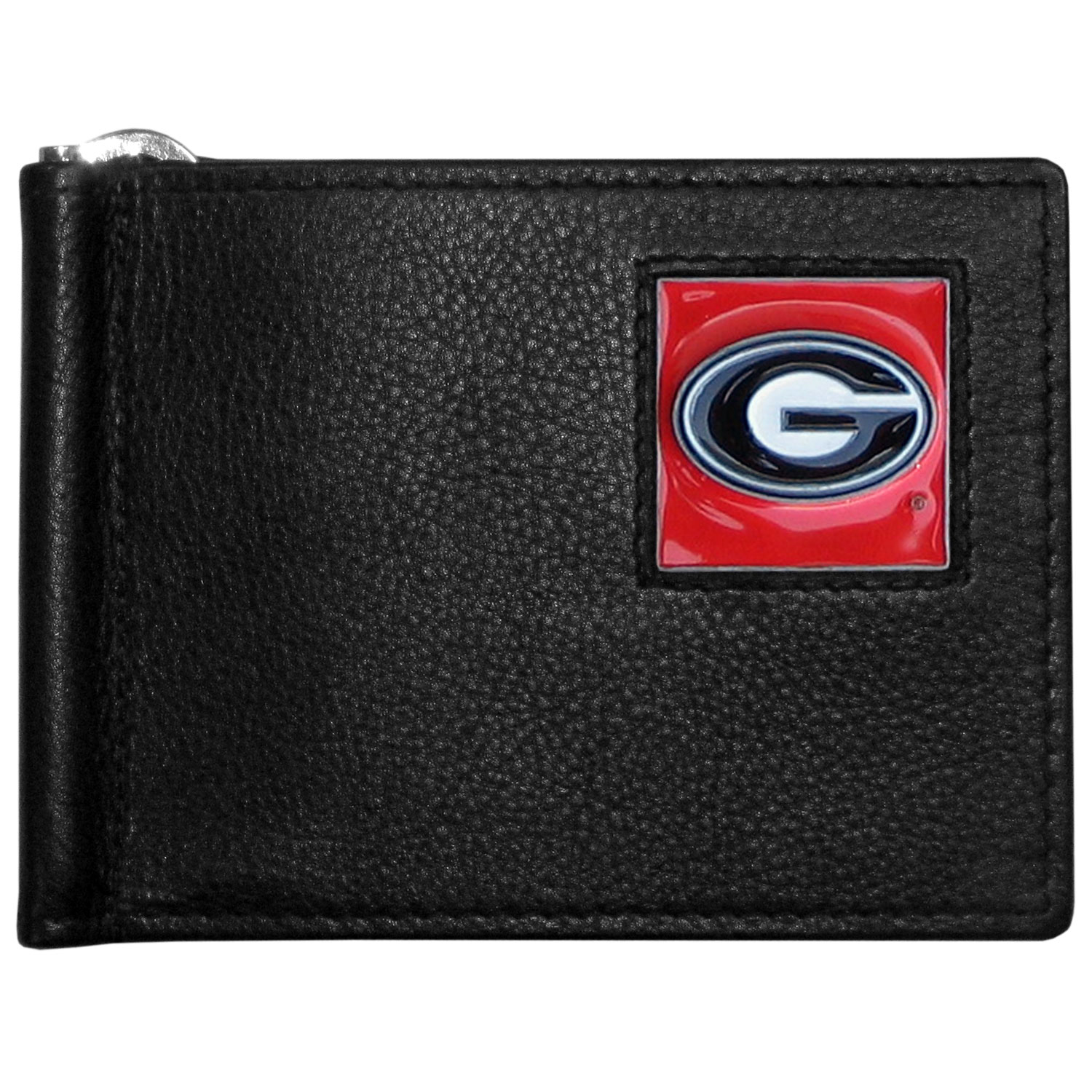 Georgia Bulldogs Leather Bill Clip Wallet - This cool new style wallet features an inner, metal bill clip that lips up for easy access. The super slim wallet holds tons of stuff with ample pockets, credit card slots & windowed ID slot. The wallet is made of genuine fine grain leather and it finished with a metal Georgia Bulldogs emblem. The wallet is shipped in gift box packaging.
