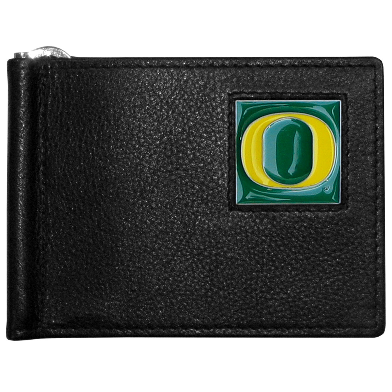 Oregon Ducks Leather Bill Clip Wallet - This cool new style wallet features an inner, metal bill clip that lips up for easy access. The super slim wallet holds tons of stuff with ample pockets, credit card slots & windowed ID slot. The wallet is made of genuine fine grain leather and it finished with a metal Oregon Ducks emblem. The wallet is shipped in gift box packaging.