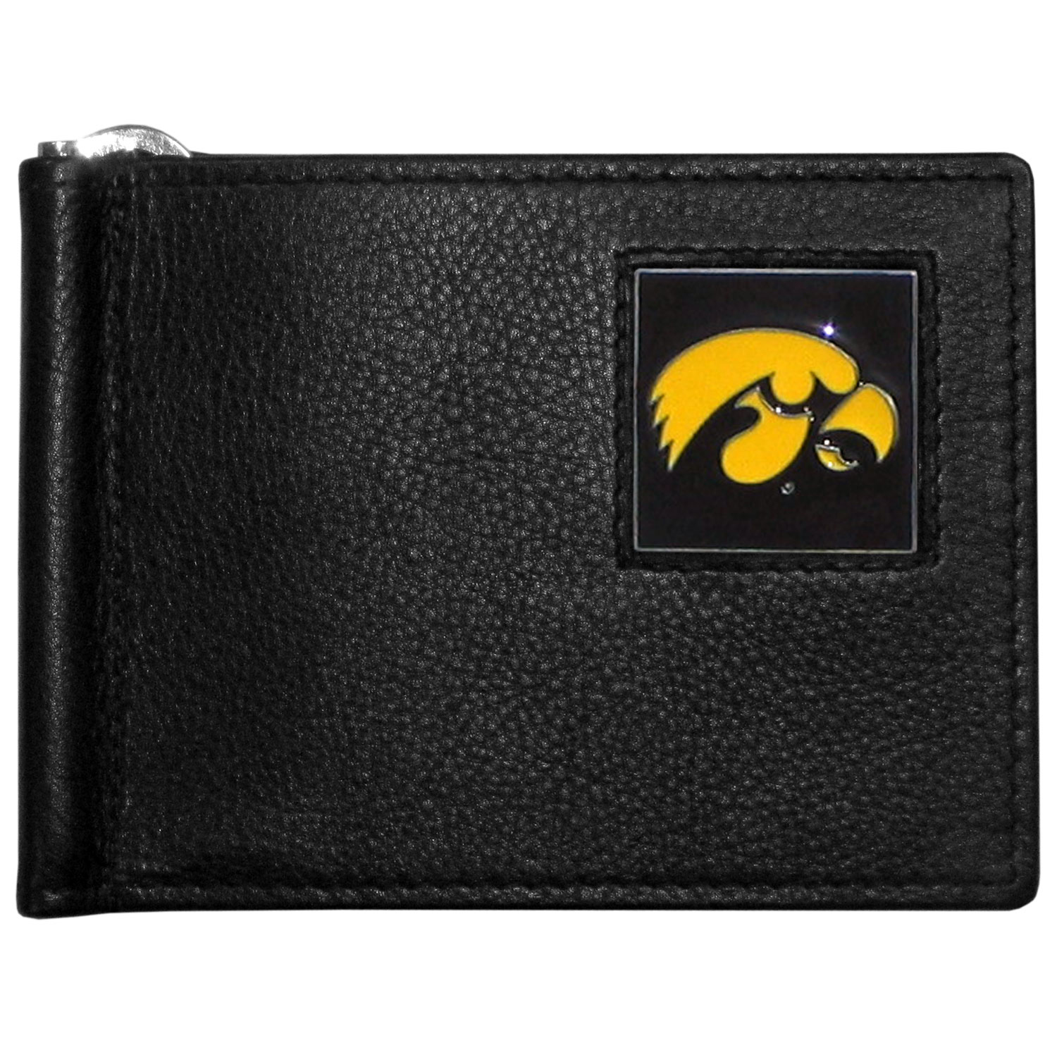 Iowa Hawkeyes Leather Bill Clip Wallet - This cool new style wallet features an inner, metal bill clip that lips up for easy access. The super slim wallet holds tons of stuff with ample pockets, credit card slots & windowed ID slot. The wallet is made of genuine fine grain leather and it finished with a metal Iowa Hawkeyes emblem. The wallet is shipped in gift box packaging.