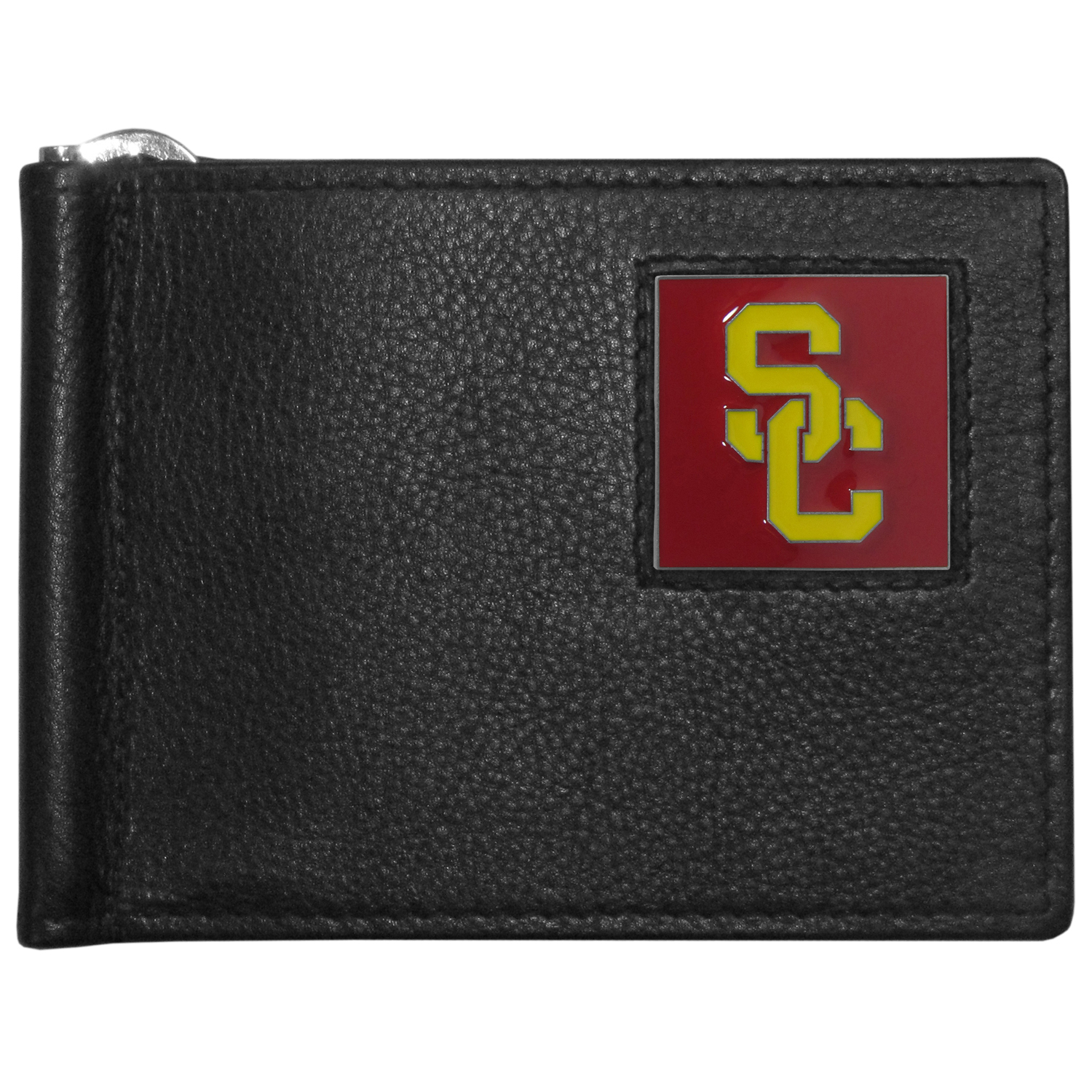 USC Trojans Leather Bill Clip Wallet - This cool new style wallet features an inner, metal bill clip that lips up for easy access. The super slim wallet holds tons of stuff with ample pockets, credit card slots & windowed ID slot. The wallet is made of genuine fine grain leather and it finished with a metal USC Trojans emblem. The wallet is shipped in gift box packaging.