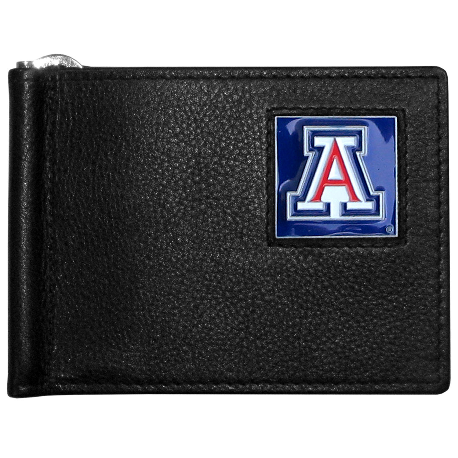 Arizona Wildcats Leather Bill Clip Wallet - This cool new style wallet features an inner, metal bill clip that lips up for easy access. The super slim wallet holds tons of stuff with ample pockets, credit card slots & windowed ID slot.  The wallet is made of genuine fine grain leather and it finished with a metal Arizona Wildcats emblem. The wallet is shipped in gift box packaging.