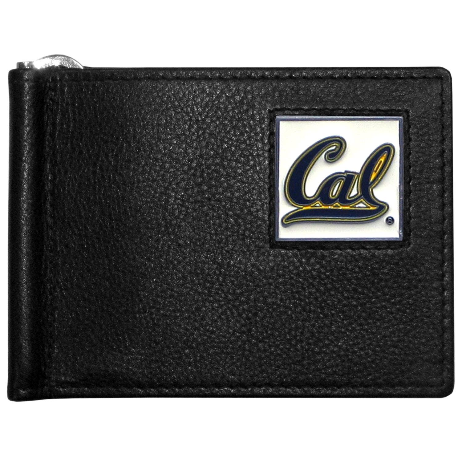 Cal Berkeley Bears Leather Bill Clip Wallet - This cool new style wallet features an inner, metal bill clip that lips up for easy access. The super slim wallet holds tons of stuff with ample pockets, credit card slots & windowed ID slot.  The wallet is made of genuine fine grain leather and it finished with a metal Cal Berkeley Bears emblem. The wallet is shipped in gift box packaging.