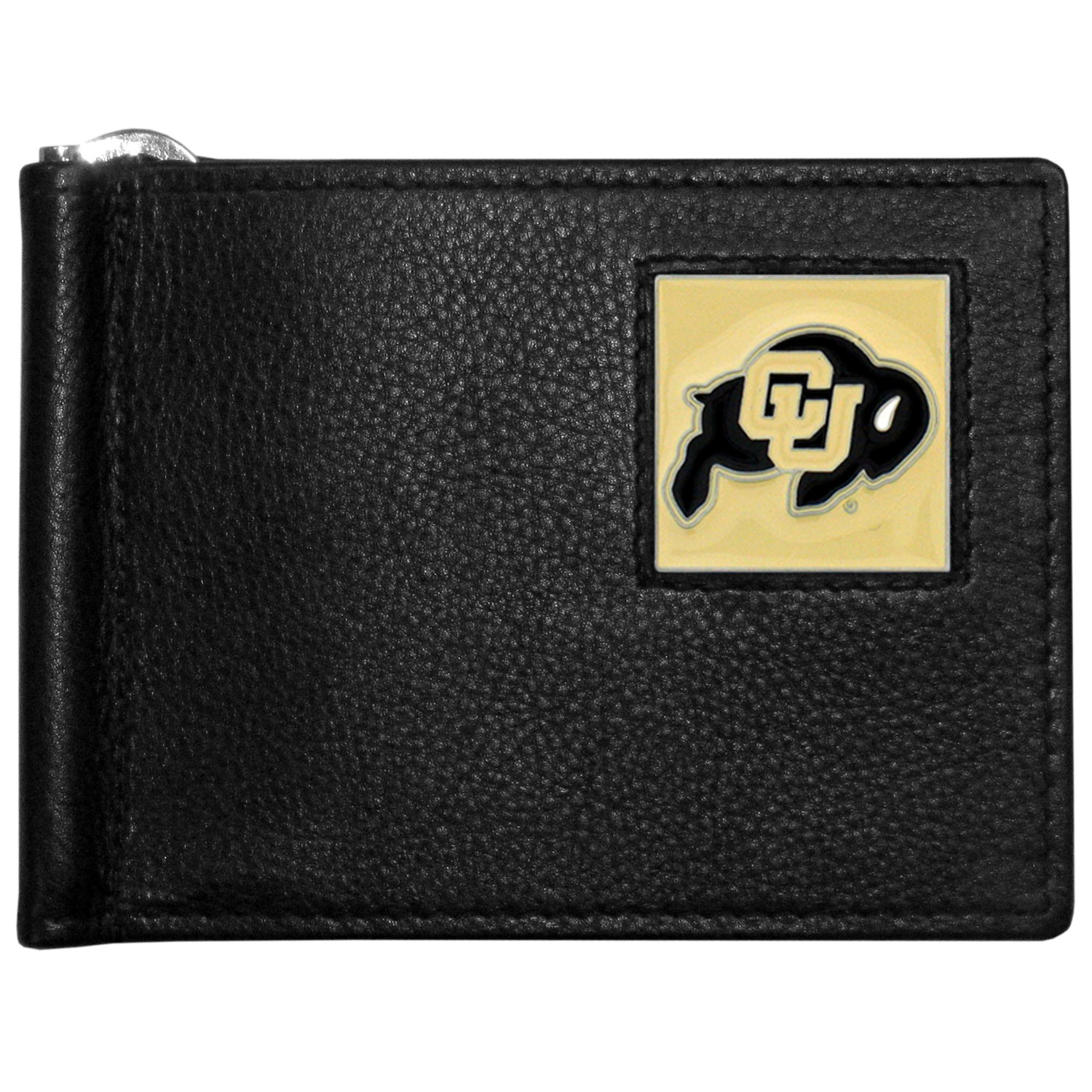 Colorado Buffaloes Leather Bill Clip Wallet - This cool new style wallet features an inner, metal bill clip that lips up for easy access. The super slim wallet holds tons of stuff with ample pockets, credit card slots & windowed ID slot.  The wallet is made of genuine fine grain leather and it finished with a metal Colorado Buffaloes emblem. The wallet is shipped in gift box packaging.
