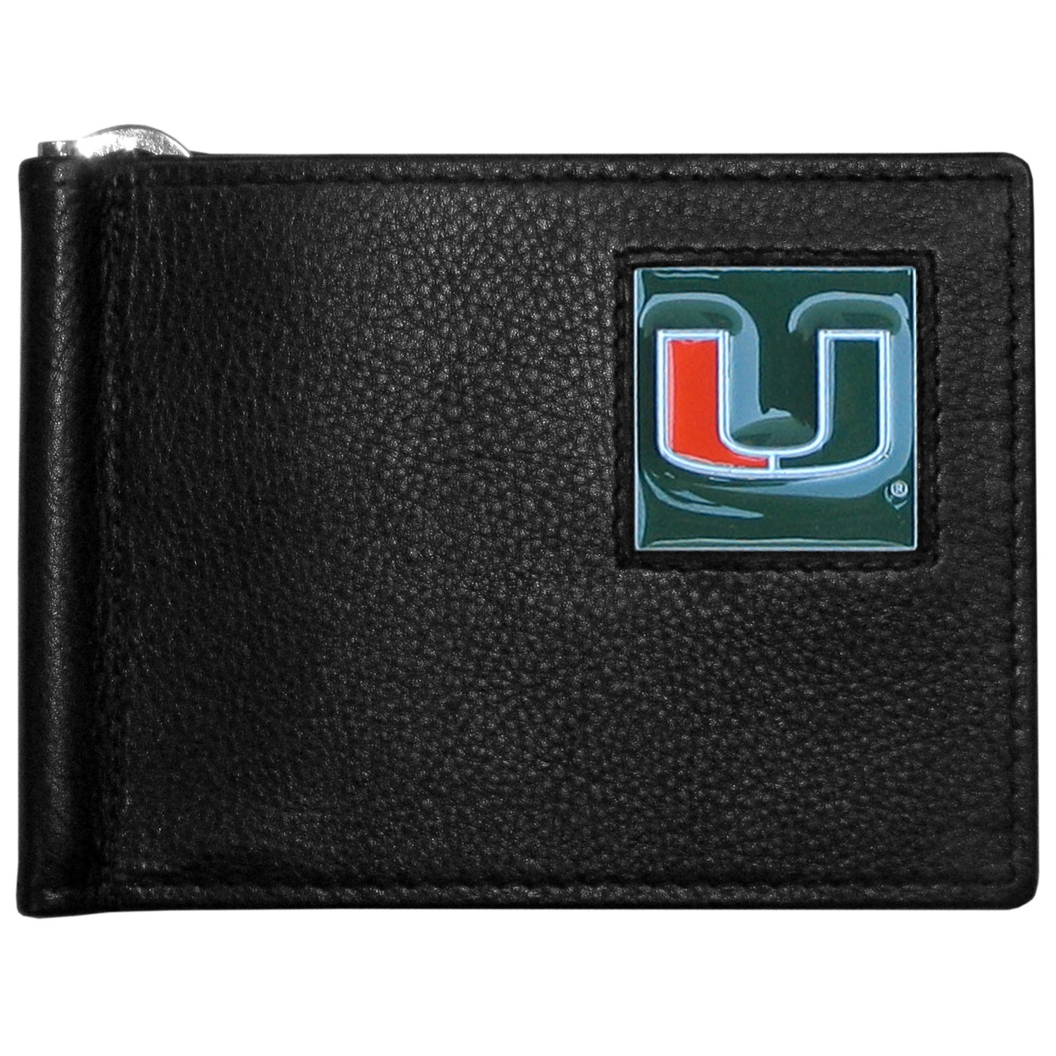 Miami Hurricanes Leather Bill Clip Wallet - This cool new style wallet features an inner, metal bill clip that lips up for easy access. The super slim wallet holds tons of stuff with ample pockets, credit card slots & windowed ID slot. The wallet is made of genuine fine grain leather and it finished with a metal Miami Hurricanes emblem. The wallet is shipped in gift box packaging.