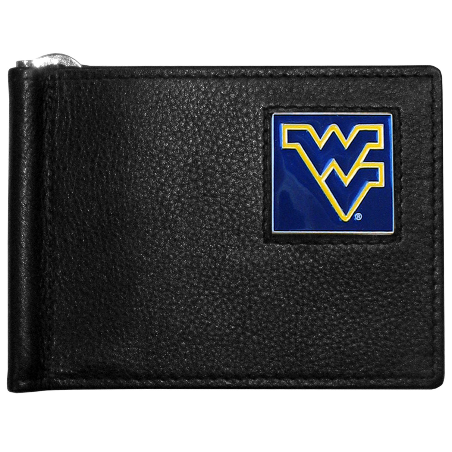 W. Virginia Mountaineers Leather Bill Clip Wallet - This cool new style wallet features an inner, metal bill clip that lips up for easy access. The super slim wallet holds tons of stuff with ample pockets, credit card slots & windowed ID slot. The wallet is made of genuine fine grain leather and it finished with a metal W. Virginia Mountaineers emblem. The wallet is shipped in gift box packaging.