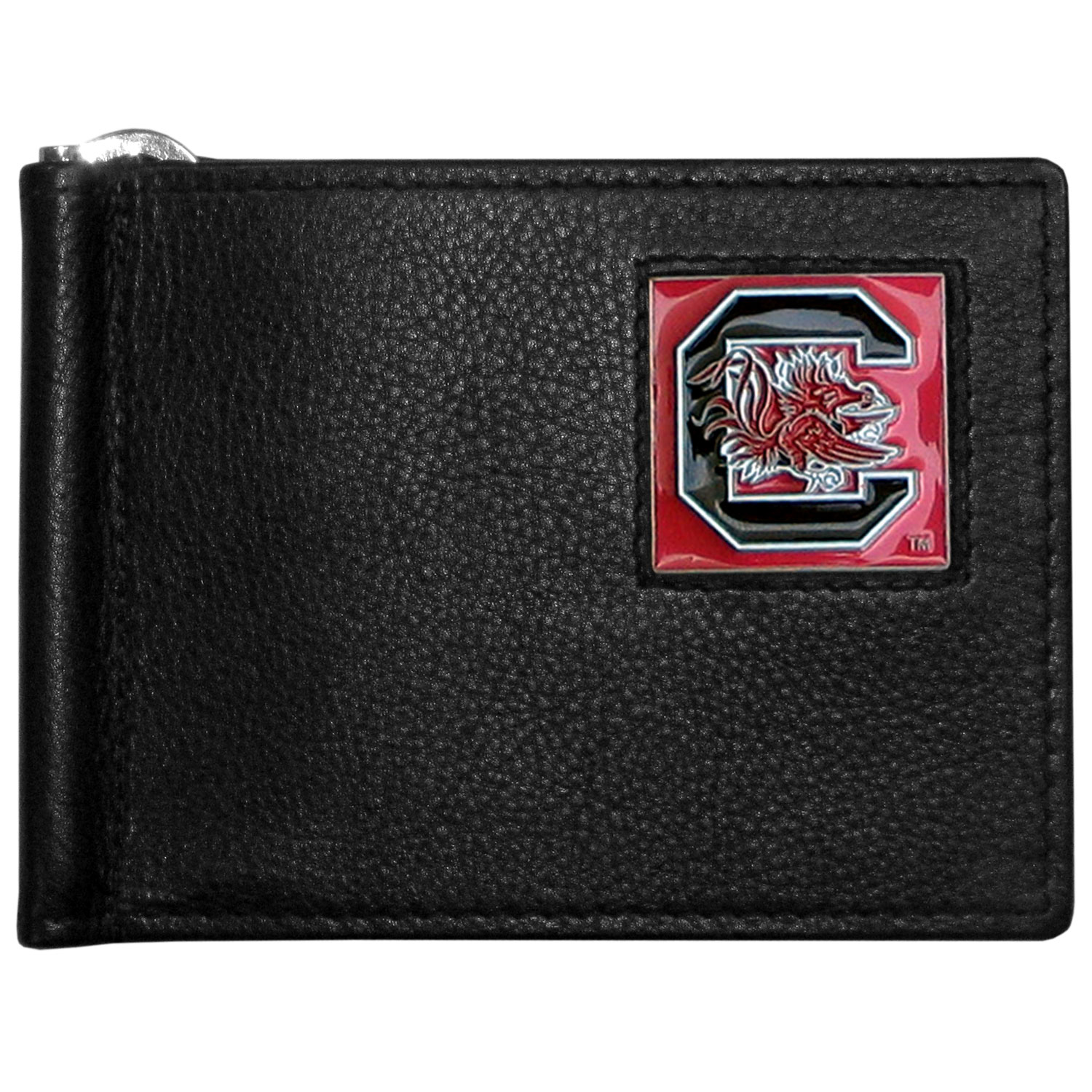 S. Carolina Gamecocks Leather Bill Clip Wallet - This cool new style wallet features an inner, metal bill clip that lips up for easy access. The super slim wallet holds tons of stuff with ample pockets, credit card slots & windowed ID slot. The wallet is made of genuine fine grain leather and it finished with a metal S. Carolina Gamecocks emblem. The wallet is shipped in gift box packaging.