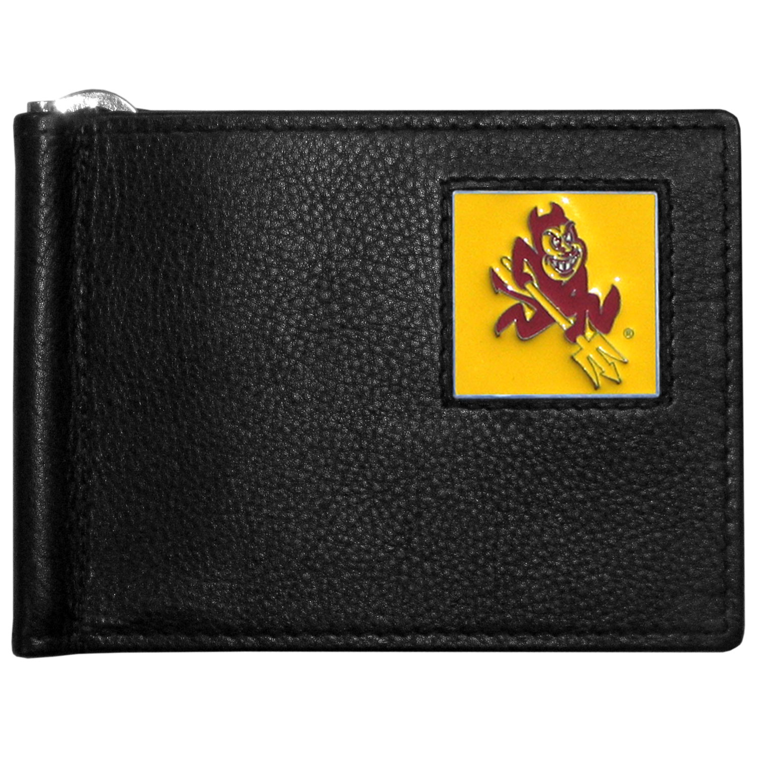 Arizona St. Sun Devils Leather Bill Clip Wallet - This cool new style wallet features an inner, metal bill clip that lips up for easy access. The super slim wallet holds tons of stuff with ample pockets, credit card slots & windowed ID slot.  The wallet is made of genuine fine grain leather and it finished with a metal Arizona St. Sun Devils emblem. The wallet is shipped in gift box packaging.
