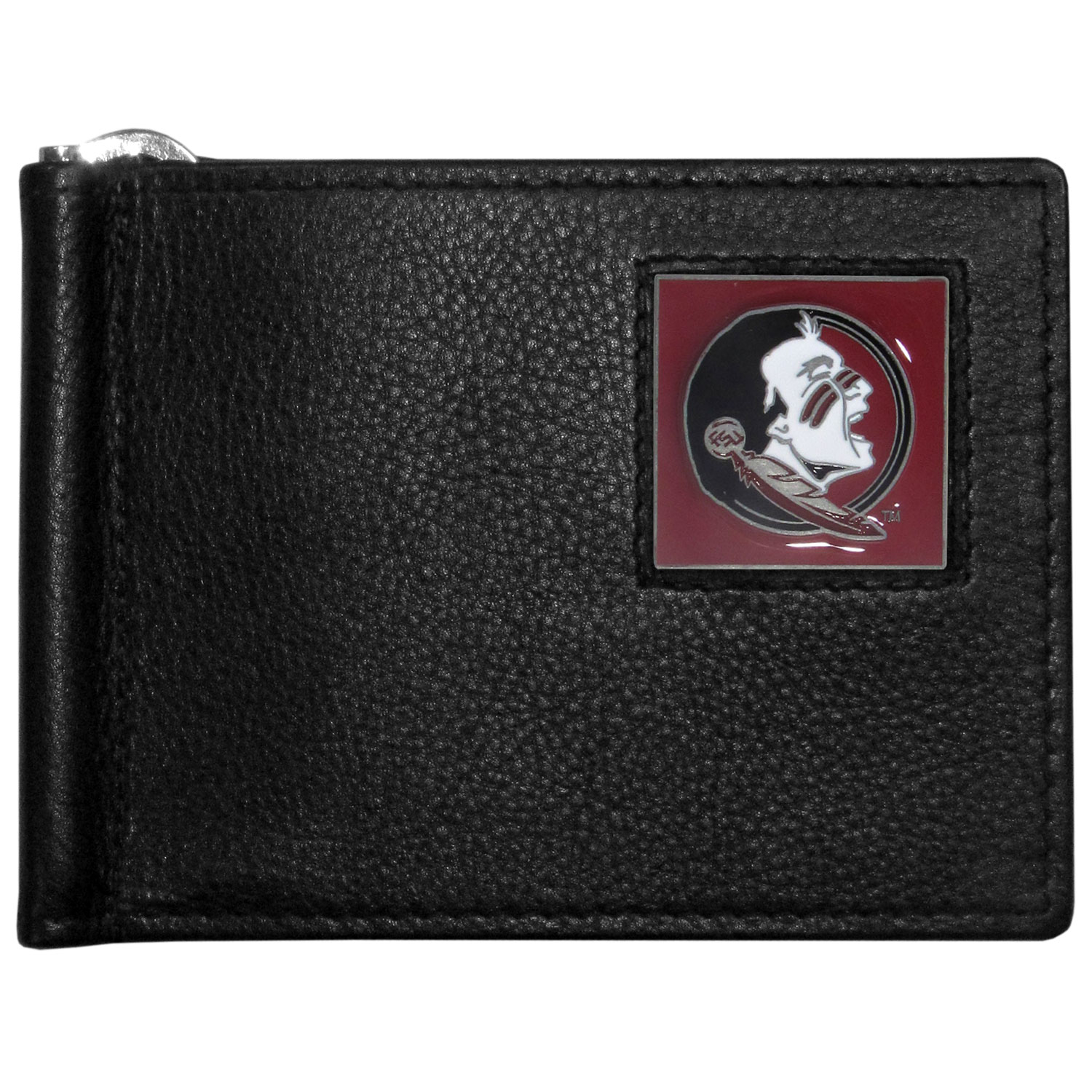 Florida St. Seminoles Leather Bill Clip Wallet - This cool new style wallet features an inner, metal bill clip that lips up for easy access. The super slim wallet holds tons of stuff with ample pockets, credit card slots & windowed ID slot. The wallet is made of genuine fine grain leather and it finished with a metal Florida St. Seminoles emblem. The wallet is shipped in gift box packaging.