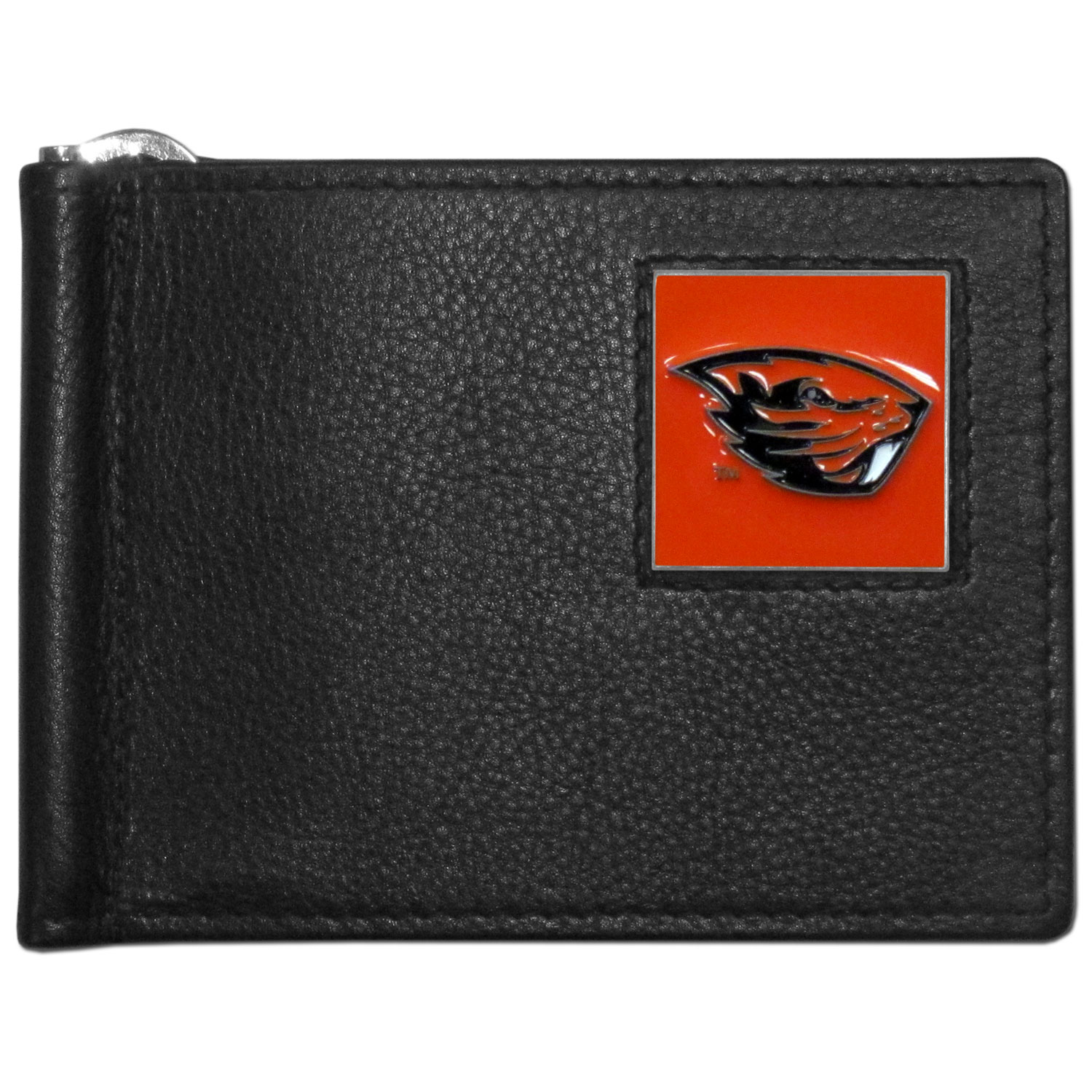 Oregon St. Beavers Leather Bill Clip Wallet - This cool new style wallet features an inner, metal bill clip that lips up for easy access. The super slim wallet holds tons of stuff with ample pockets, credit card slots & windowed ID slot. The wallet is made of genuine fine grain leather and it finished with a metal Oregon St. Beavers emblem. The wallet is shipped in gift box packaging.