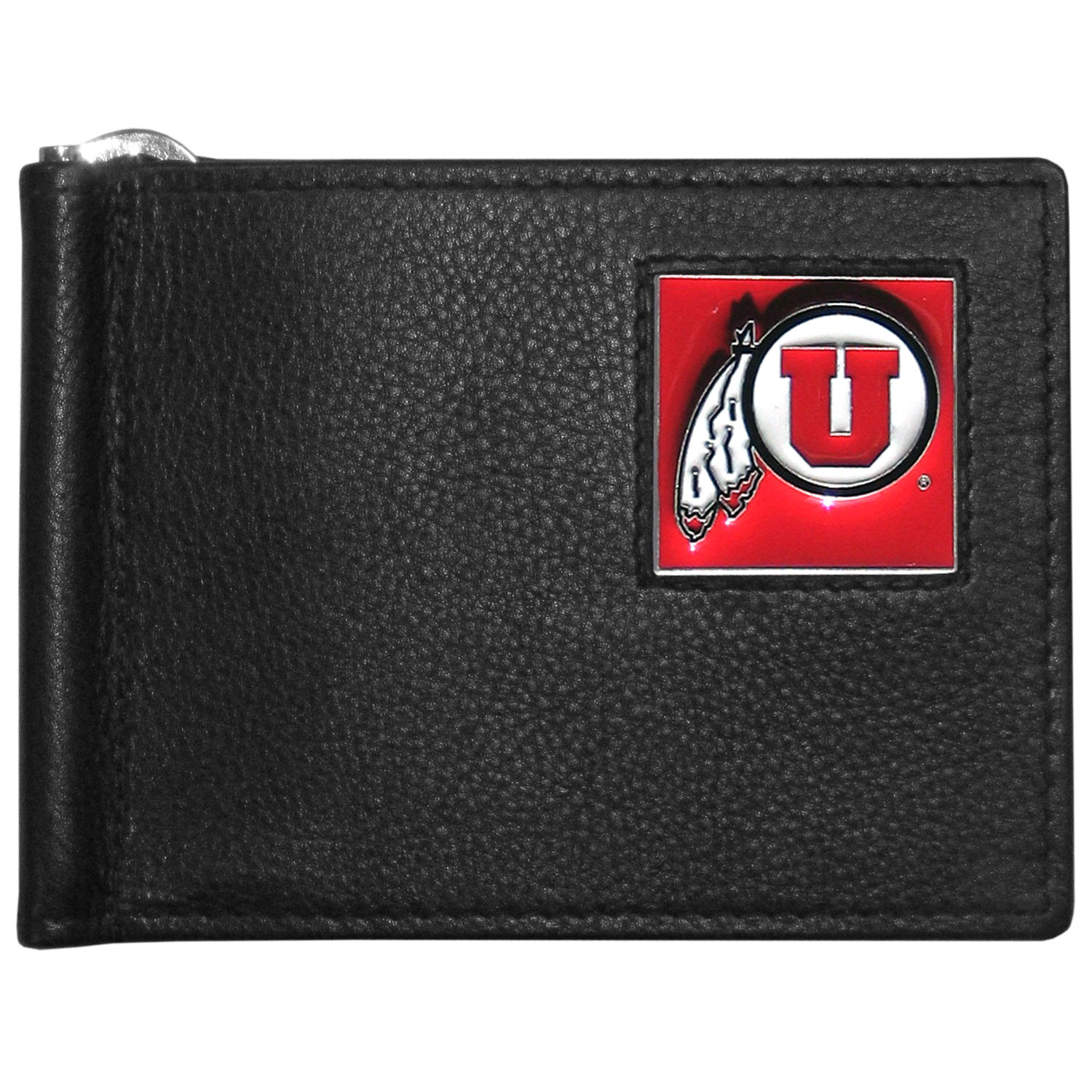 Utah Utes Leather Bill Clip Wallet - This cool new style wallet features an inner, metal bill clip that lips up for easy access. The super slim wallet holds tons of stuff with ample pockets, credit card slots & windowed ID slot.  The wallet is made of genuine fine grain leather and it finished with a metal Utah Utes emblem. The wallet is shipped in gift box packaging.
