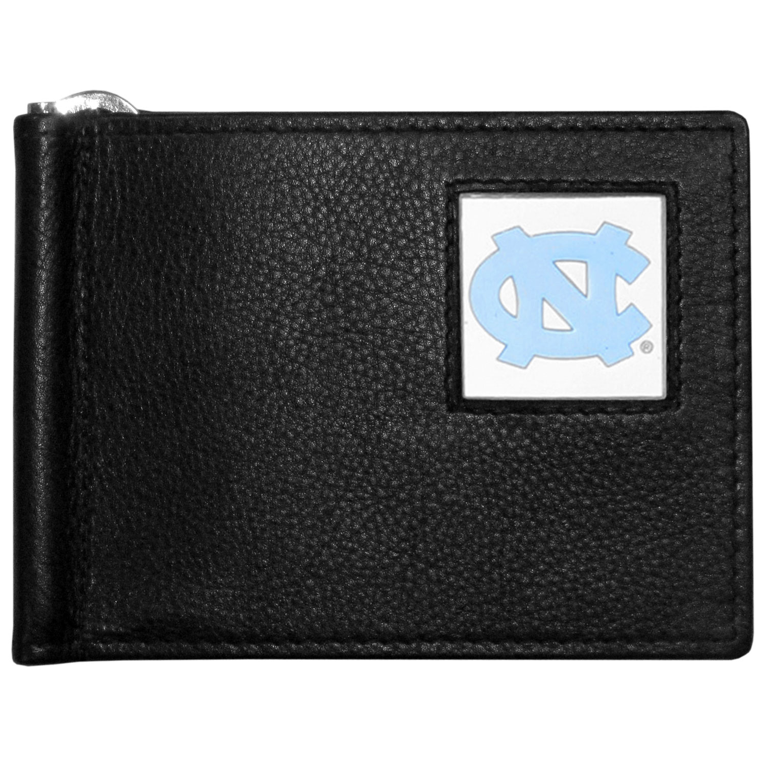 N. Carolina Tar Heels Leather Bill Clip Wallet - This cool new style wallet features an inner, metal bill clip that lips up for easy access. The super slim wallet holds tons of stuff with ample pockets, credit card slots & windowed ID slot. The wallet is made of genuine fine grain leather and it finished with a metal N. Carolina Tar Heels emblem. The wallet is shipped in gift box packaging.