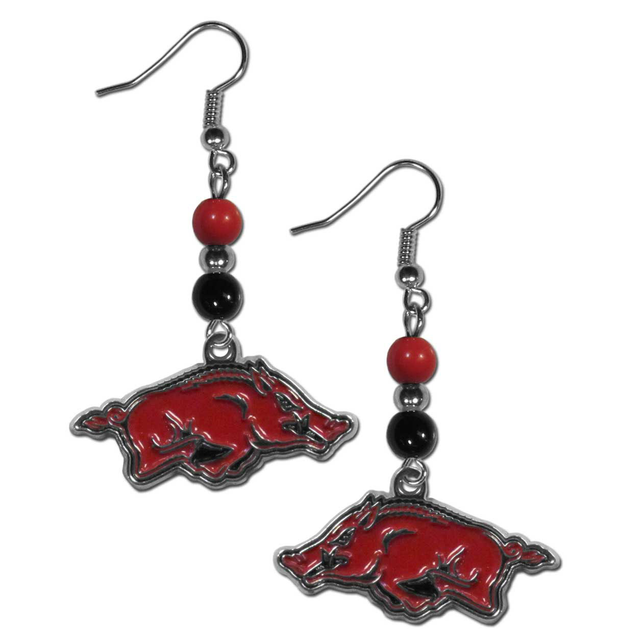 Arkansas Razorbacks Fan Bead Dangle Earrings - Love your team, show it off with our Arkansas Razorbacks bead dangle earrings! These super cute earrings hang approximately 2 inches and features 2 team colored beads and a high polish team charm. A must have for game day!