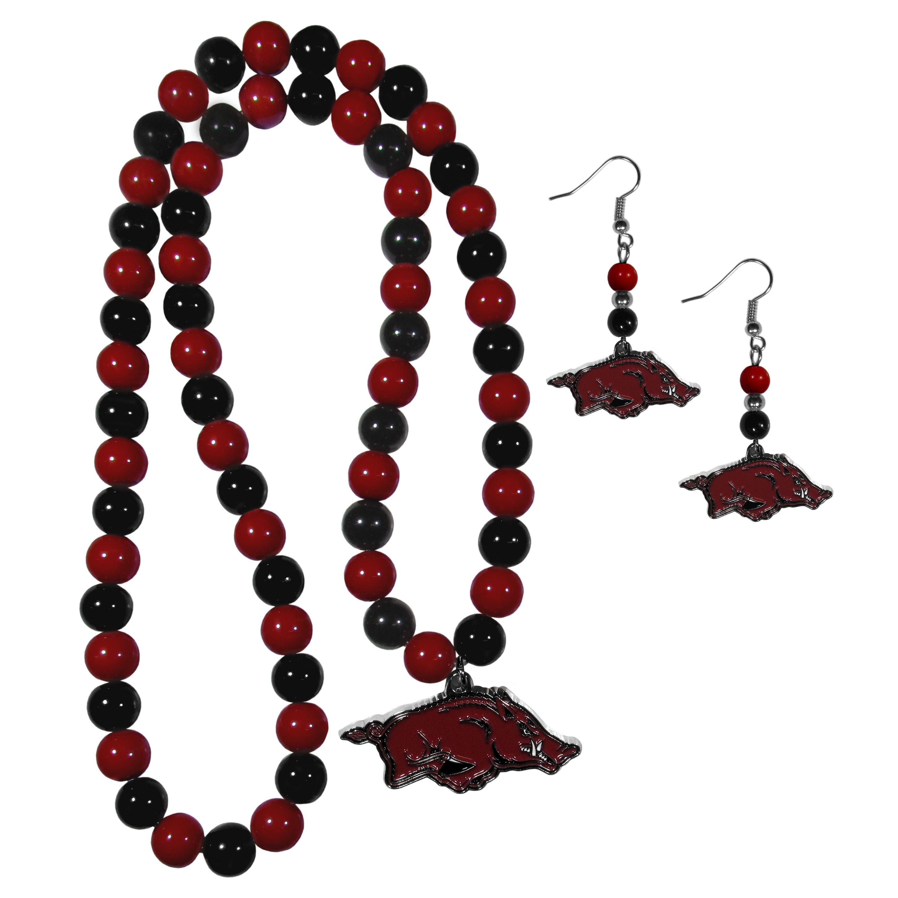 Arkansas Razorbacks Fan Bead Earrings and Necklace Set - These fun and colorful Arkansas Razorbacks fan bead jewelry pieces are an eyecatching way to show off your team spirit. The earrings feature hypoallergenic, nickel free fishhook post and 2 team colored beads with a beautifully carved team charm to finish this attractive dangle look. The mathcing bracelet has alternating team colored beads on a stretch cord and features a matching team charm.