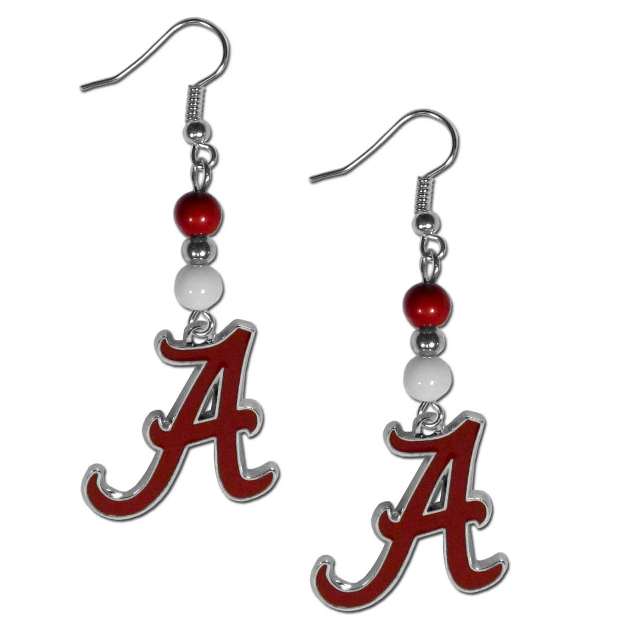 Alabama Crimson Tide Fan Bead Dangle Earrings - Love your team, show it off with our Alabama Crimson Tide bead dangle earrings! These super cute earrings hang approximately 2 inches and features 2 team colored beads and a high polish team charm. A must have for game day!