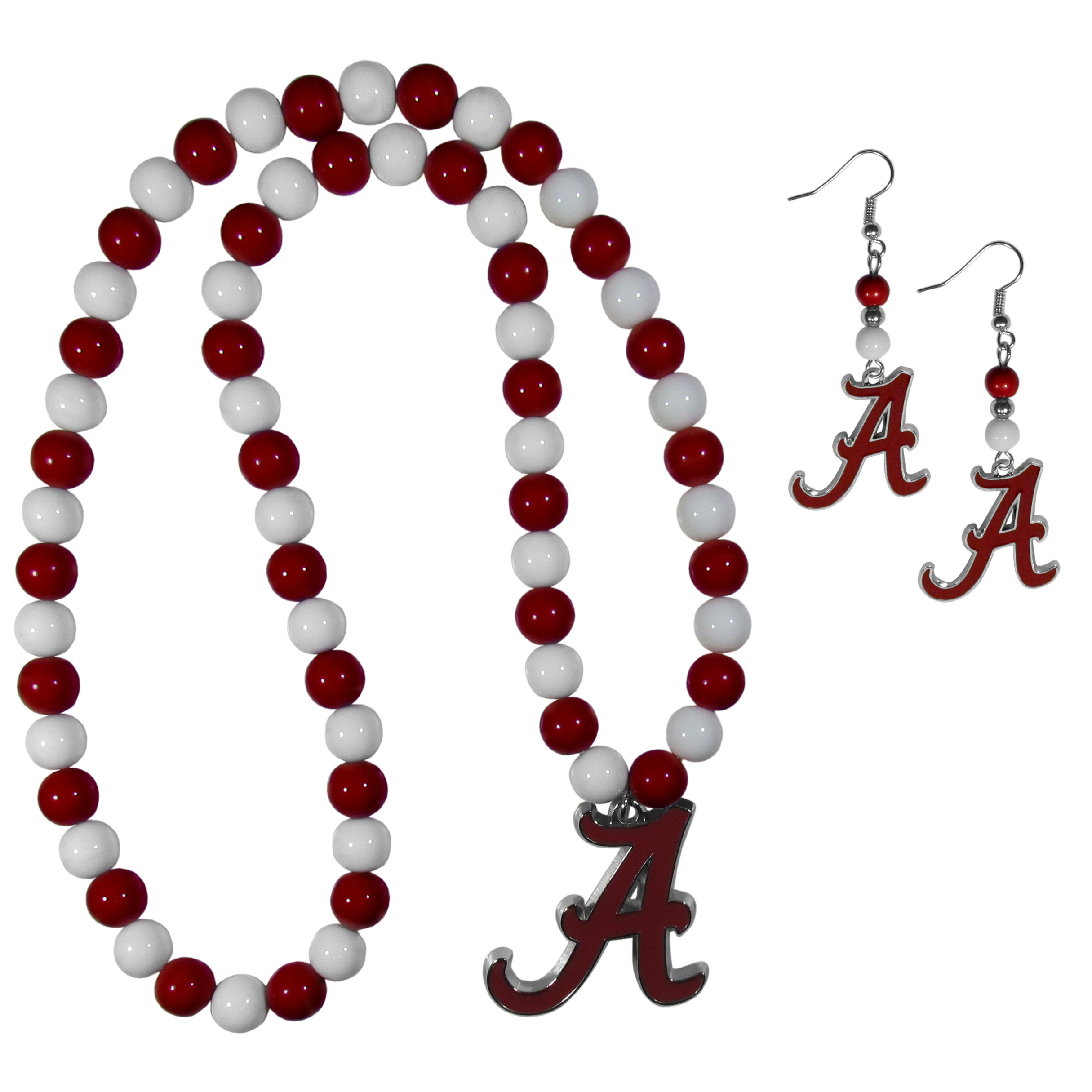 Alabama Crimson Tide Fan Bead Earrings and Necklace Set - These fun and colorful Alabama Crimson Tide fan bead jewelry pieces are an eyecatching way to show off your team spirit. The earrings feature hypoallergenic, nickel free fishhook post and 2 team colored beads with a beautifully carved team charm to finish this attractive dangle look. The mathcing bracelet has alternating team colored beads on a stretch cord and features a matching team charm.