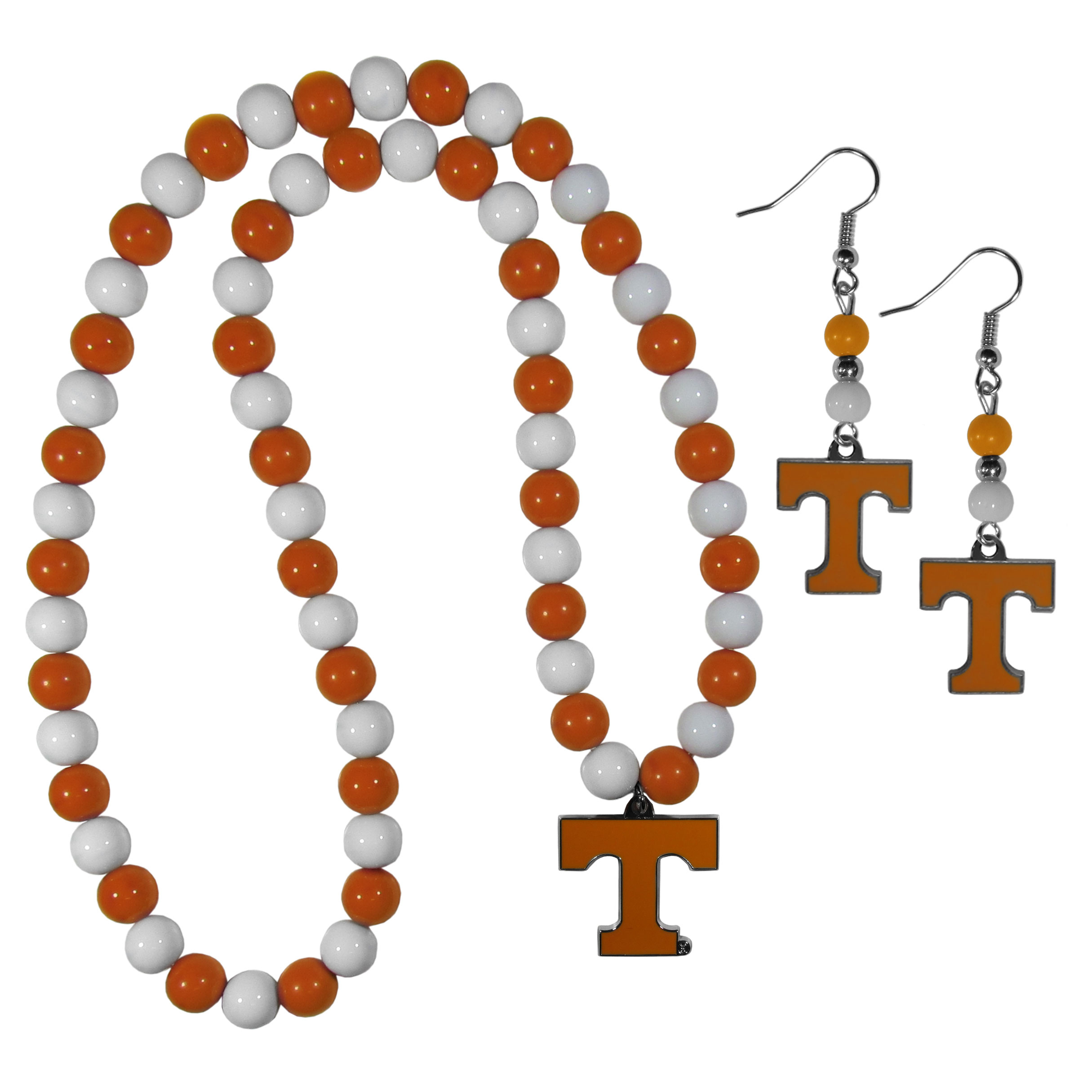 Tennessee Volunteers Fan Bead Earrings and Necklace Set - These fun and colorful Tennessee Volunteers fan bead jewelry pieces are an eyecatching way to show off your team spirit. The earrings feature hypoallergenic, nickel free fishhook post and 2 team colored beads with a beautifully carved team charm to finish this attractive dangle look. The mathcing bracelet has alternating team colored beads on a stretch cord and features a matching team charm.