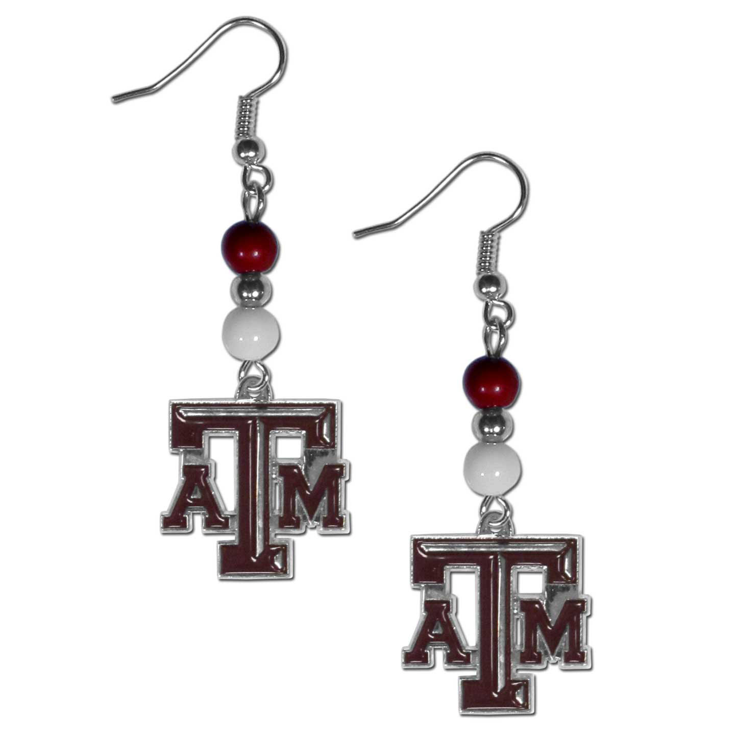 Texas A and M Aggies Fan Bead Dangle Earrings - Love your team, show it off with our Texas A & M Aggies bead dangle earrings! These super cute earrings hang approximately 2 inches and features 2 team colored beads and a high polish team charm. A must have for game day!