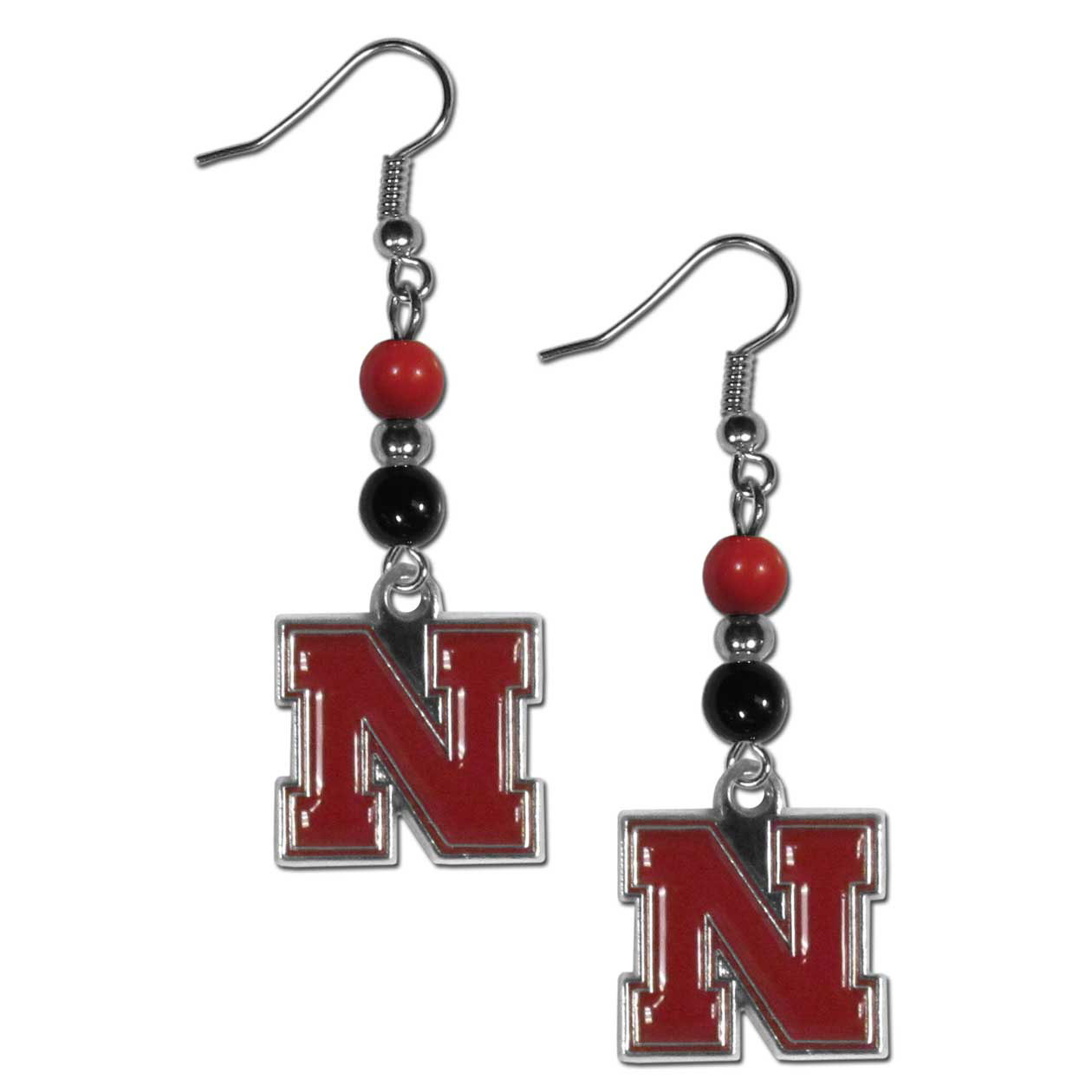 Nebraska Cornhuskers Fan Bead Dangle Earrings - Love your team, show it off with our Nebraska Cornhuskers bead dangle earrings! These super cute earrings hang approximately 2 inches and features 2 team colored beads and a high polish team charm. A must have for game day!