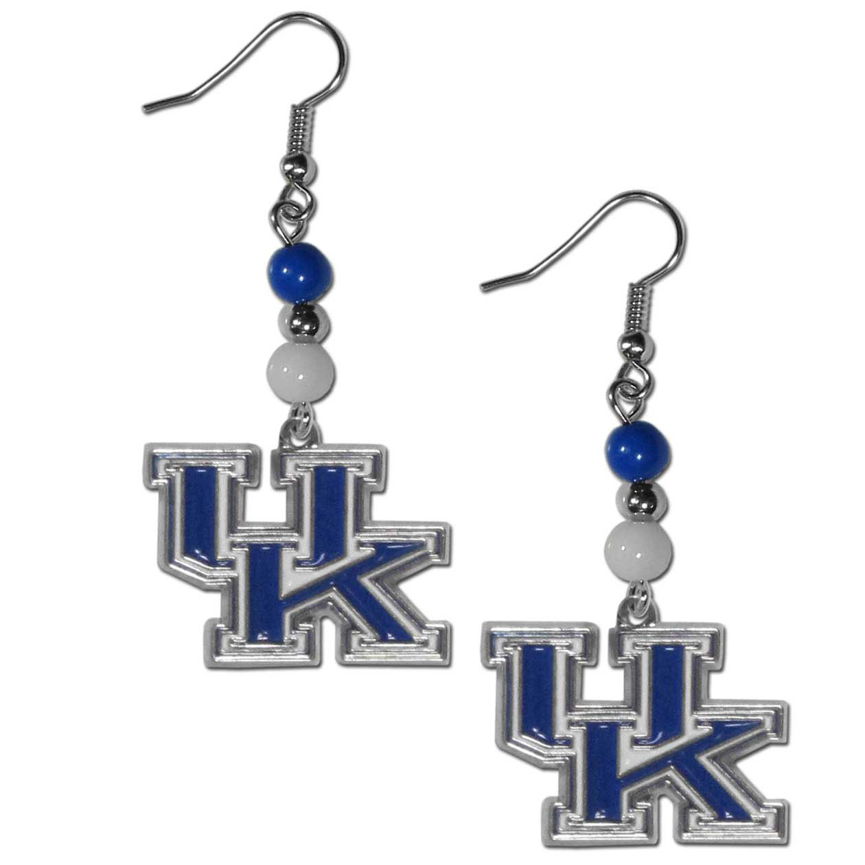 Kentucky Wildcats Fan Bead Dangle Earrings - Love your team, show it off with our Kentucky Wildcats bead dangle earrings! These super cute earrings hang approximately 2 inches and features 2 team colored beads and a high polish team charm. A must have for game day!