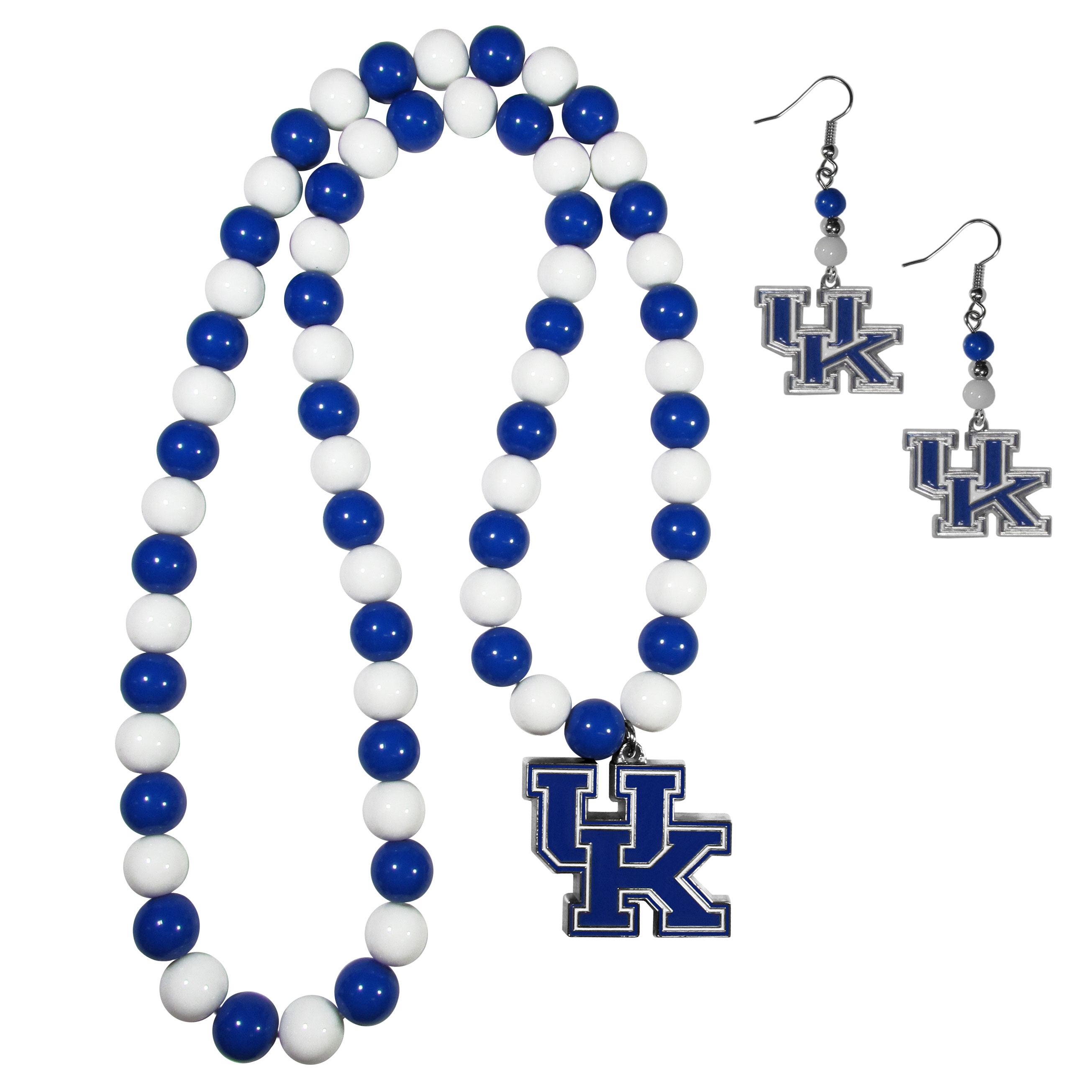 Kentucky Wildcats Fan Bead Earrings and Necklace Set - These fun and colorful Kentucky Wildcats fan bead jewelry pieces are an eyecatching way to show off your team spirit. The earrings feature hypoallergenic, nickel free fishhook post and 2 team colored beads with a beautifully carved team charm to finish this attractive dangle look. The mathcing bracelet has alternating team colored beads on a stretch cord and features a matching team charm.