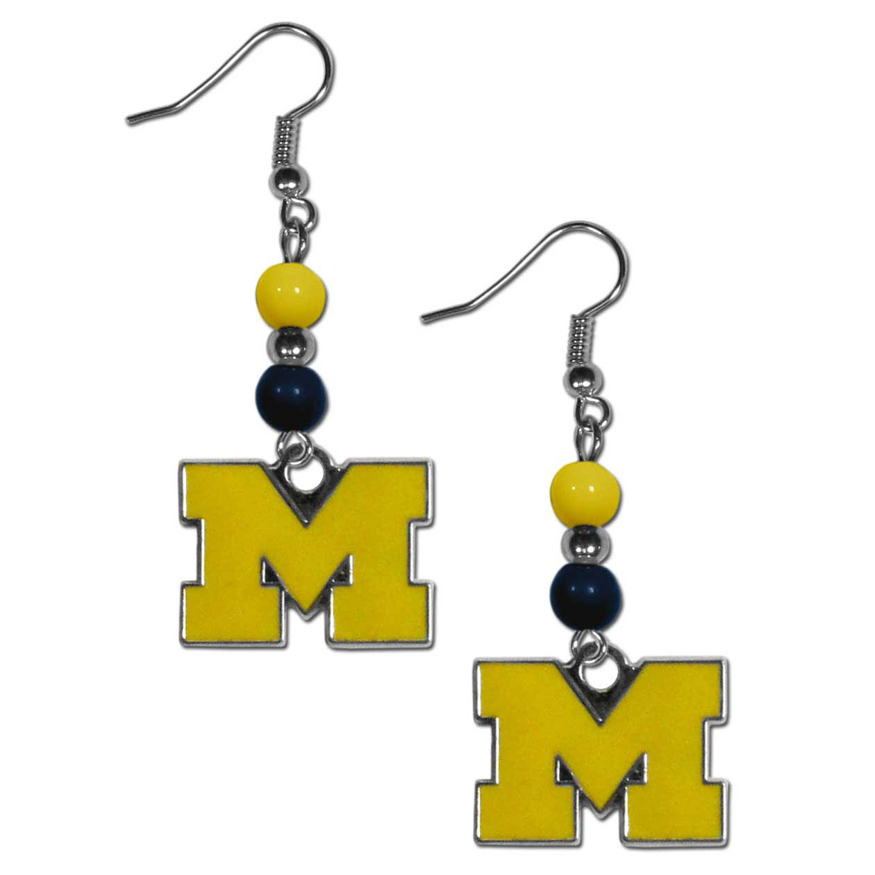 Michigan Wolverines Fan Bead Dangle Earrings - Love your team, show it off with our Michigan Wolverines bead dangle earrings! These super cute earrings hang approximately 2 inches and features 2 team colored beads and a high polish team charm. A must have for game day!