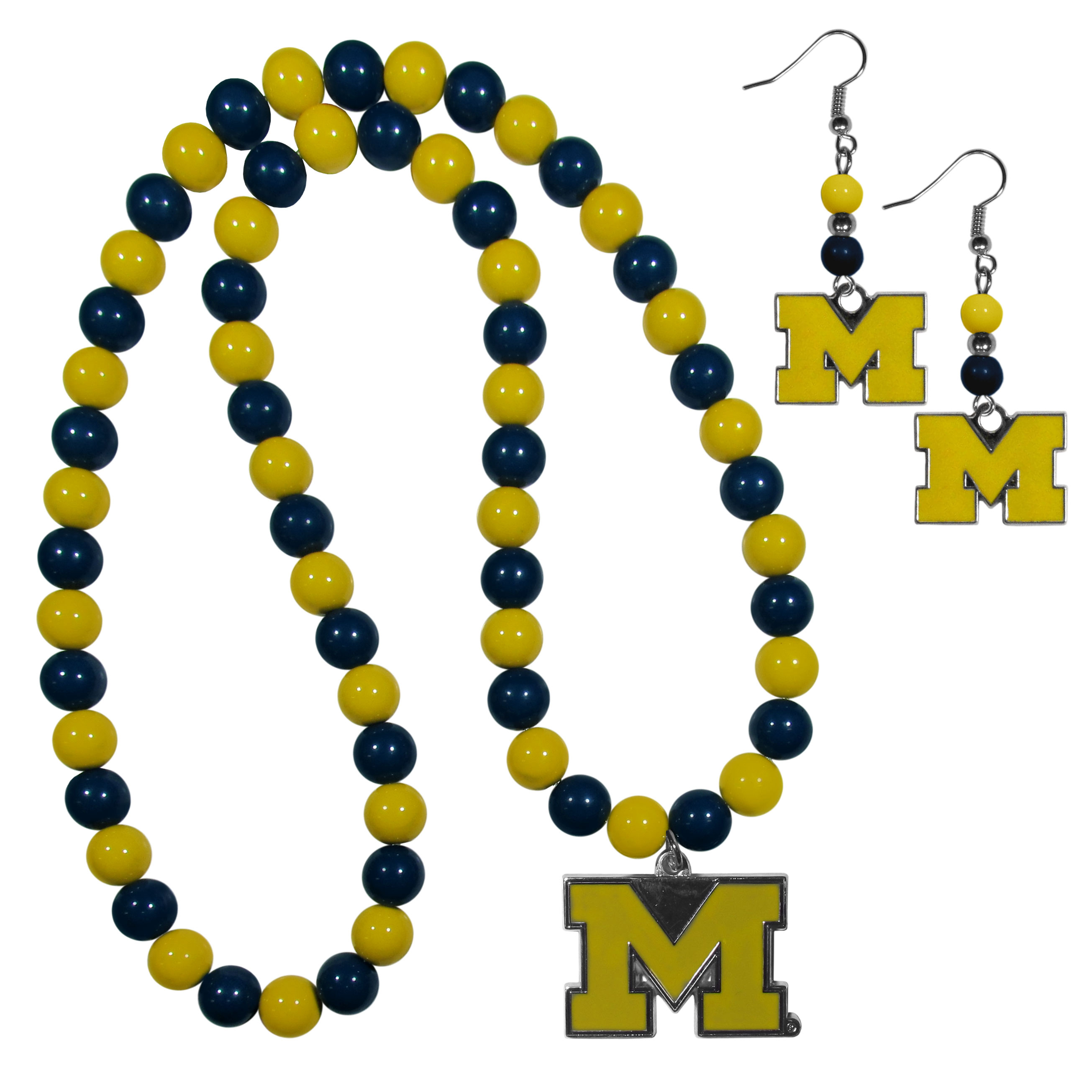 Michigan Wolverines Fan Bead Earrings and Necklace Set - These fun and colorful Michigan Wolverines fan bead jewelry pieces are an eyecatching way to show off your team spirit. The earrings feature hypoallergenic, nickel free fishhook post and 2 team colored beads with a beautifully carved team charm to finish this attractive dangle look. The mathcing bracelet has alternating team colored beads on a stretch cord and features a matching team charm.
