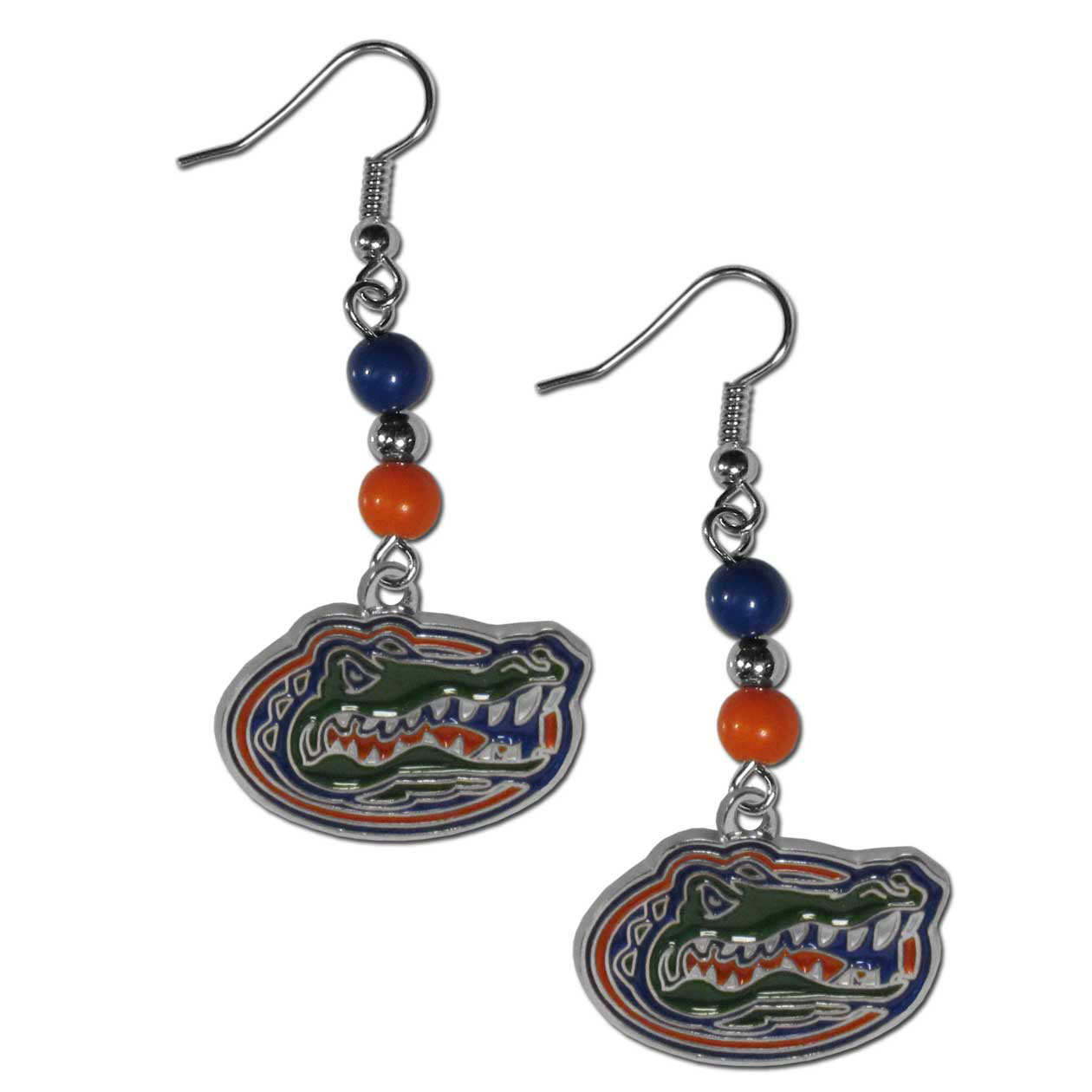 Florida Gators Fan Bead Dangle Earrings - Love your team, show it off with our Florida Gators bead dangle earrings! These super cute earrings hang approximately 2 inches and features 2 team colored beads and a high polish team charm. A must have for game day!