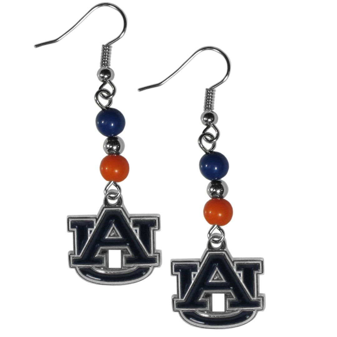 Auburn Tigers Fan Bead Dangle Earrings - Love your team, show it off with our Auburn Tigers bead dangle earrings! These super cute earrings hang approximately 2 inches and features 2 team colored beads and a high polish team charm. A must have for game day!