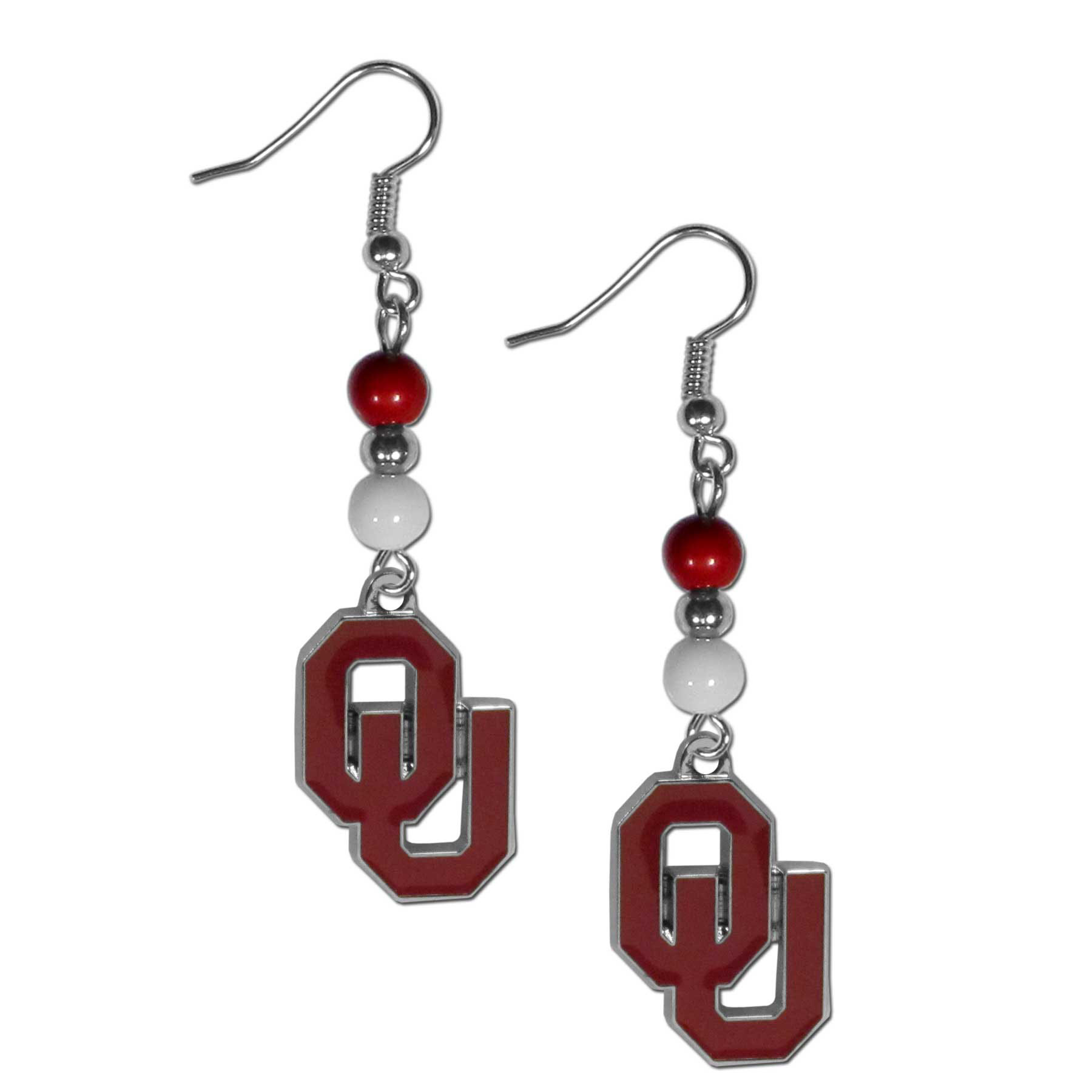 Oklahoma Sooners Fan Bead Dangle Earrings - Love your team, show it off with our Oklahoma Sooners bead dangle earrings! These super cute earrings hang approximately 2 inches and features 2 team colored beads and a high polish team charm. A must have for game day!