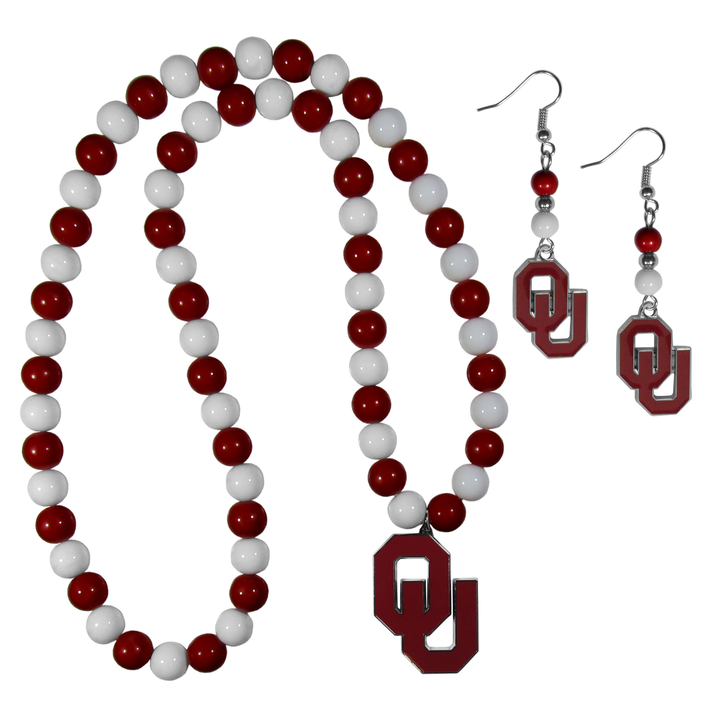 Oklahoma Sooners Fan Bead Earrings and Necklace Set - These fun and colorful Oklahoma Sooners fan bead jewelry pieces are an eyecatching way to show off your team spirit. The earrings feature hypoallergenic, nickel free fishhook post and 2 team colored beads with a beautifully carved team charm to finish this attractive dangle look. The mathcing bracelet has alternating team colored beads on a stretch cord and features a matching team charm.