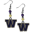 Washington Huskies Fan Bead Dangle Earrings - Love your team, show it off with our Washington Huskies bead dangle earrings! These super cute earrings hang approximately 2 inches and features 2 team colored beads and a high polish team charm. A must have for game day!  Thank you for shopping with CrazedOutSports.com