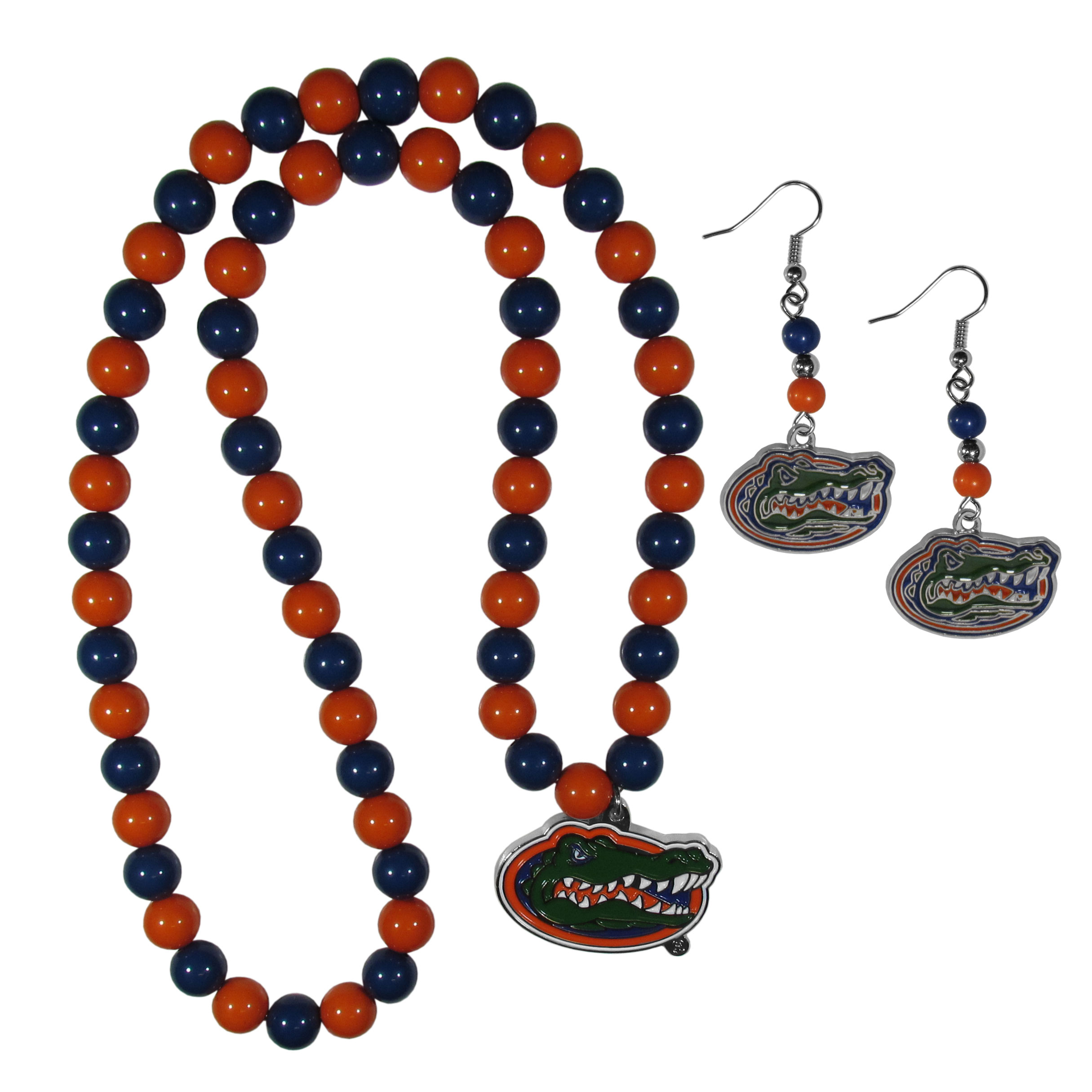 Florida Gators Fan Bead Earrings and Necklace Set - These fun and colorful Florida Gators fan bead jewelry pieces are an eyecatching way to show off your team spirit. The earrings feature hypoallergenic, nickel free fishhook post and 2 team colored beads with a beautifully carved team charm to finish this attractive dangle look. The mathcing bracelet has alternating team colored beads on a stretch cord and features a matching team charm.
