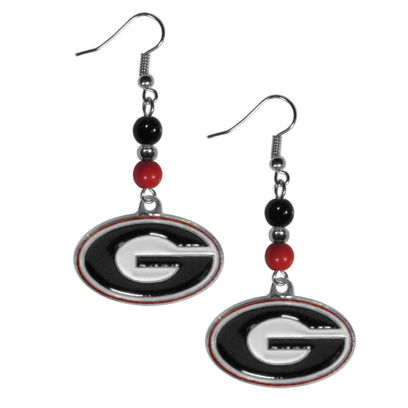 Georgia Bulldogs Fan Bead Dangle Earrings - Love your team, show it off with our Georgia Bulldogs bead dangle earrings! These super cute earrings hang approximately 2 inches and features 2 team colored beads and a high polish team charm. A must have for game day!