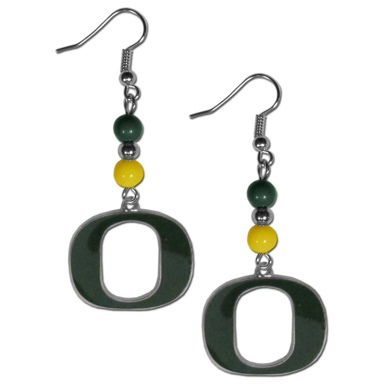 Oregon Ducks Fan Bead Dangle Earrings - Love your team, show it off with our Oregon Ducks bead dangle earrings! These super cute earrings hang approximately 2 inches and features 2 team colored beads and a high polish team charm. A must have for game day!