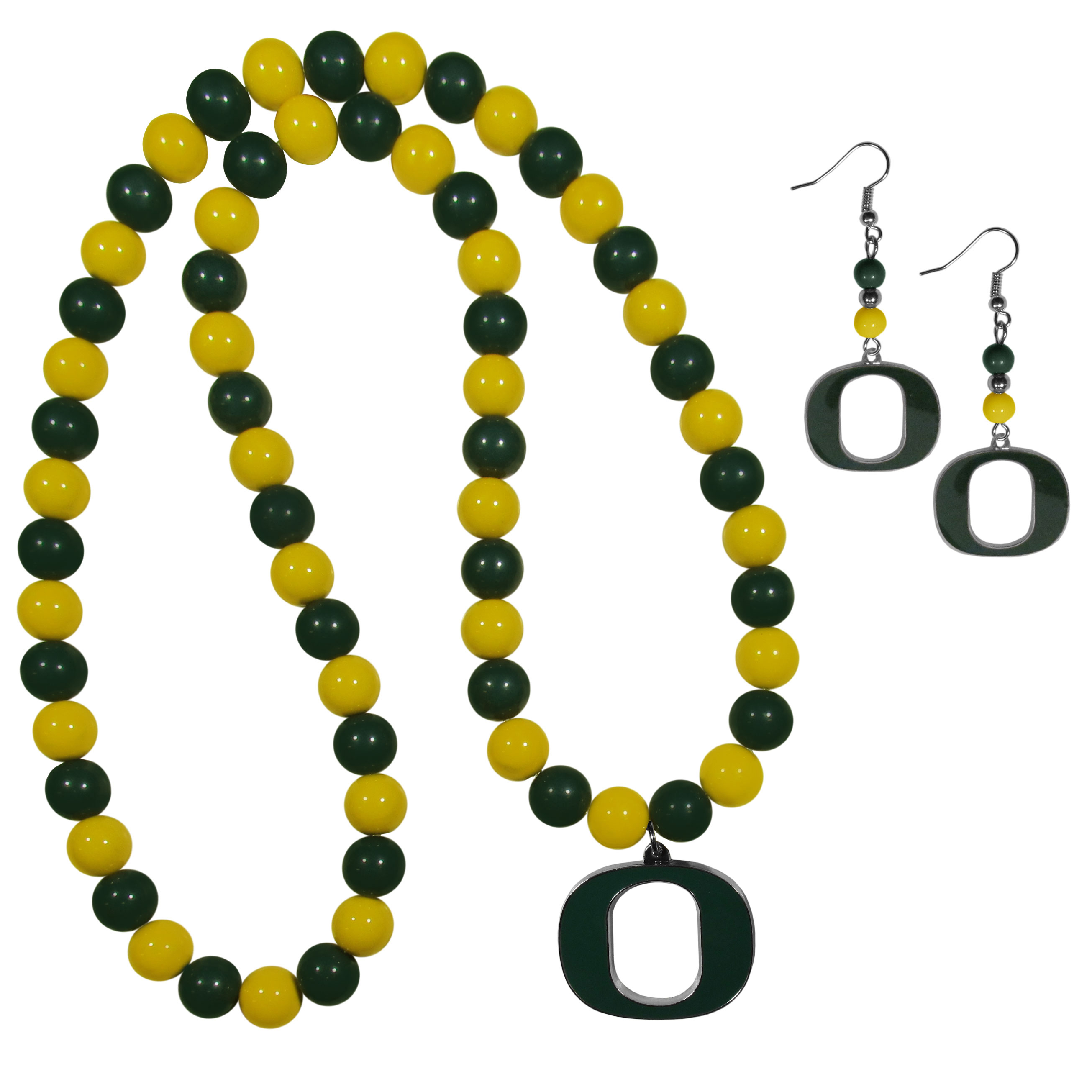 Oregon Ducks Fan Bead Earrings and Necklace Set - These fun and colorful Oregon Ducks fan bead jewelry pieces are an eyecatching way to show off your team spirit. The earrings feature hypoallergenic, nickel free fishhook post and 2 team colored beads with a beautifully carved team charm to finish this attractive dangle look. The mathcing bracelet has alternating team colored beads on a stretch cord and features a matching team charm.