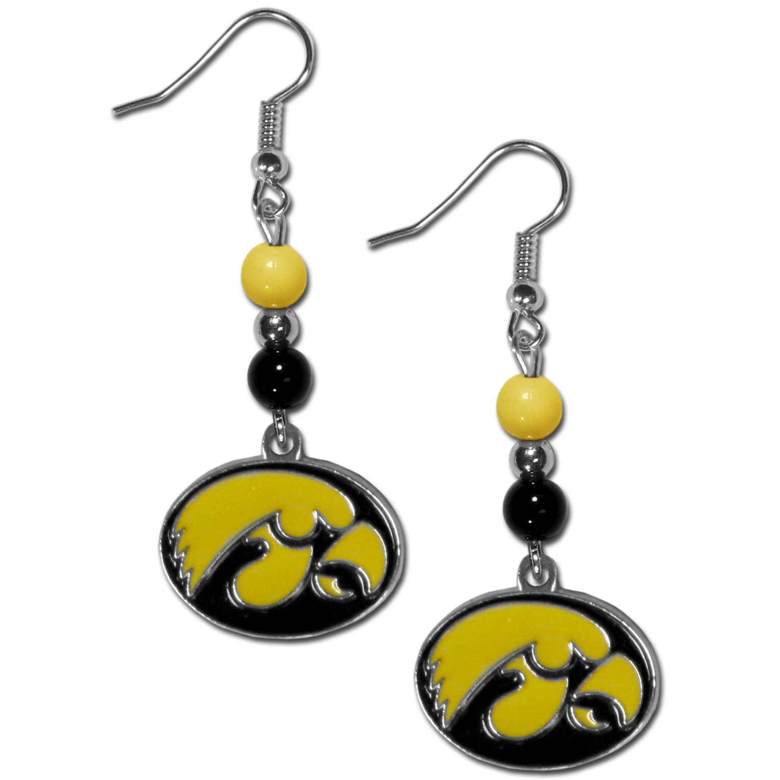 Iowa Hawkeyes Fan Bead Dangle Earrings - Love your team, show it off with our Iowa Hawkeyes bead dangle earrings! These super cute earrings hang approximately 2 inches and features 2 team colored beads and a high polish team charm. A must have for game day!