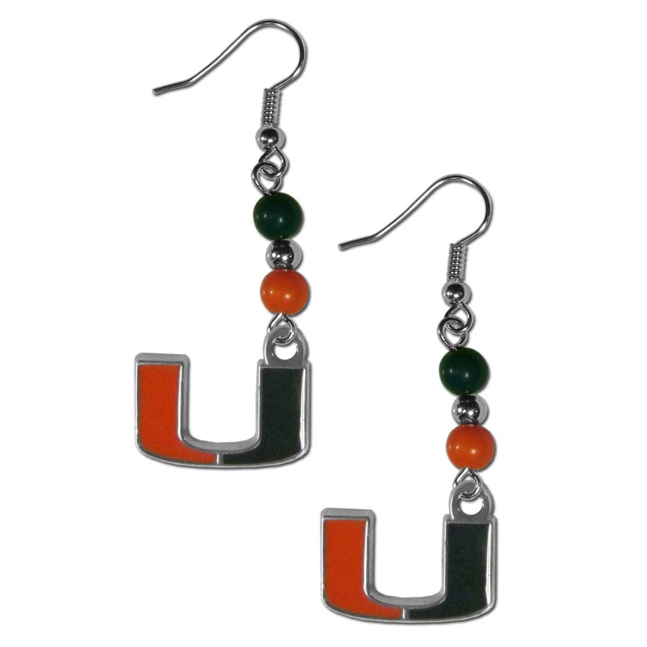 Miami Hurricanes Fan Bead Dangle Earrings - Love your team, show it off with our Miami Hurricanes bead dangle earrings! These super cute earrings hang approximately 2 inches and features 2 team colored beads and a high polish team charm. A must have for game day!